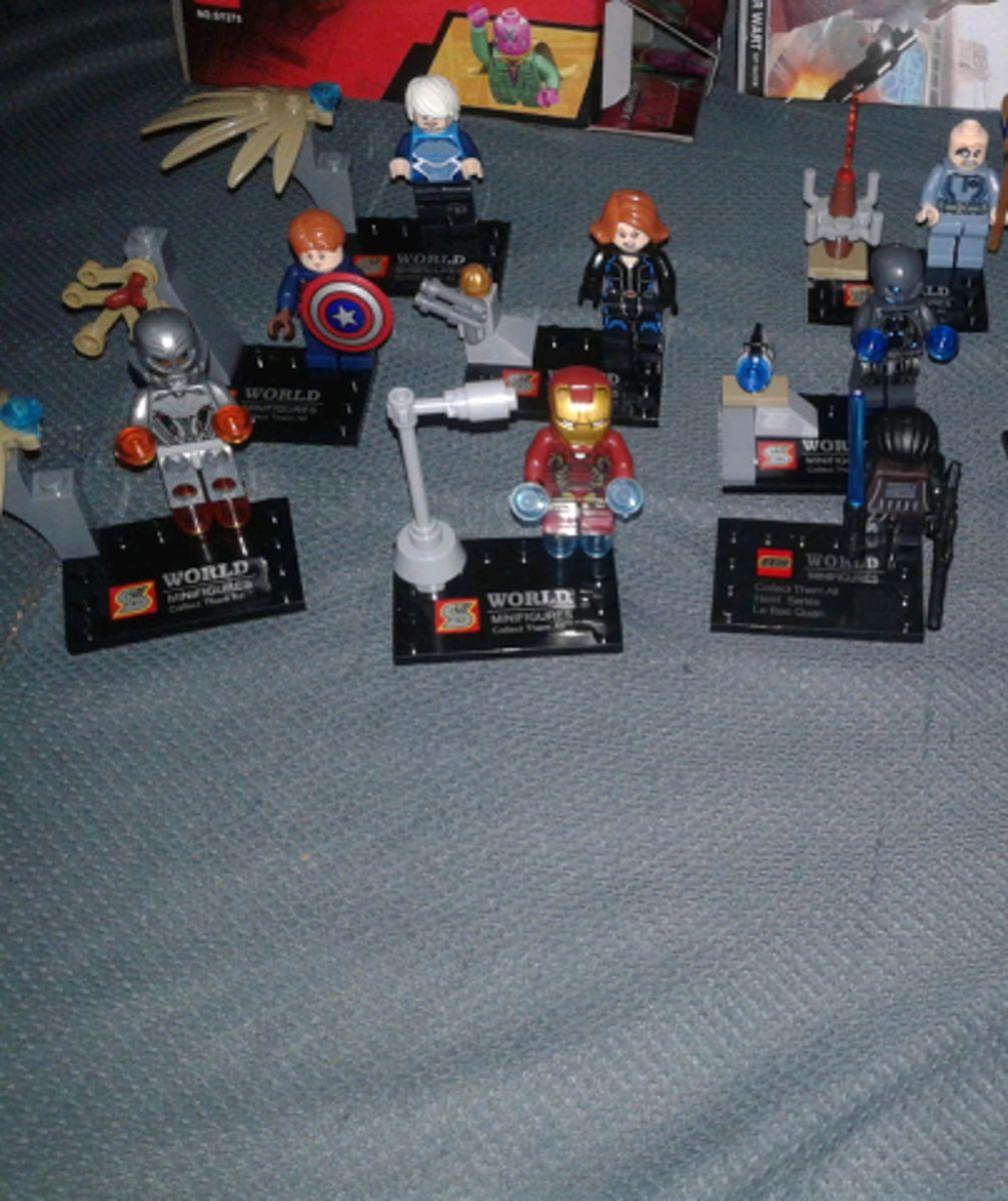 40b9a72bdce 12 Bonecos Miniaturas Lego Vingadores e Star Wars Darth Vader