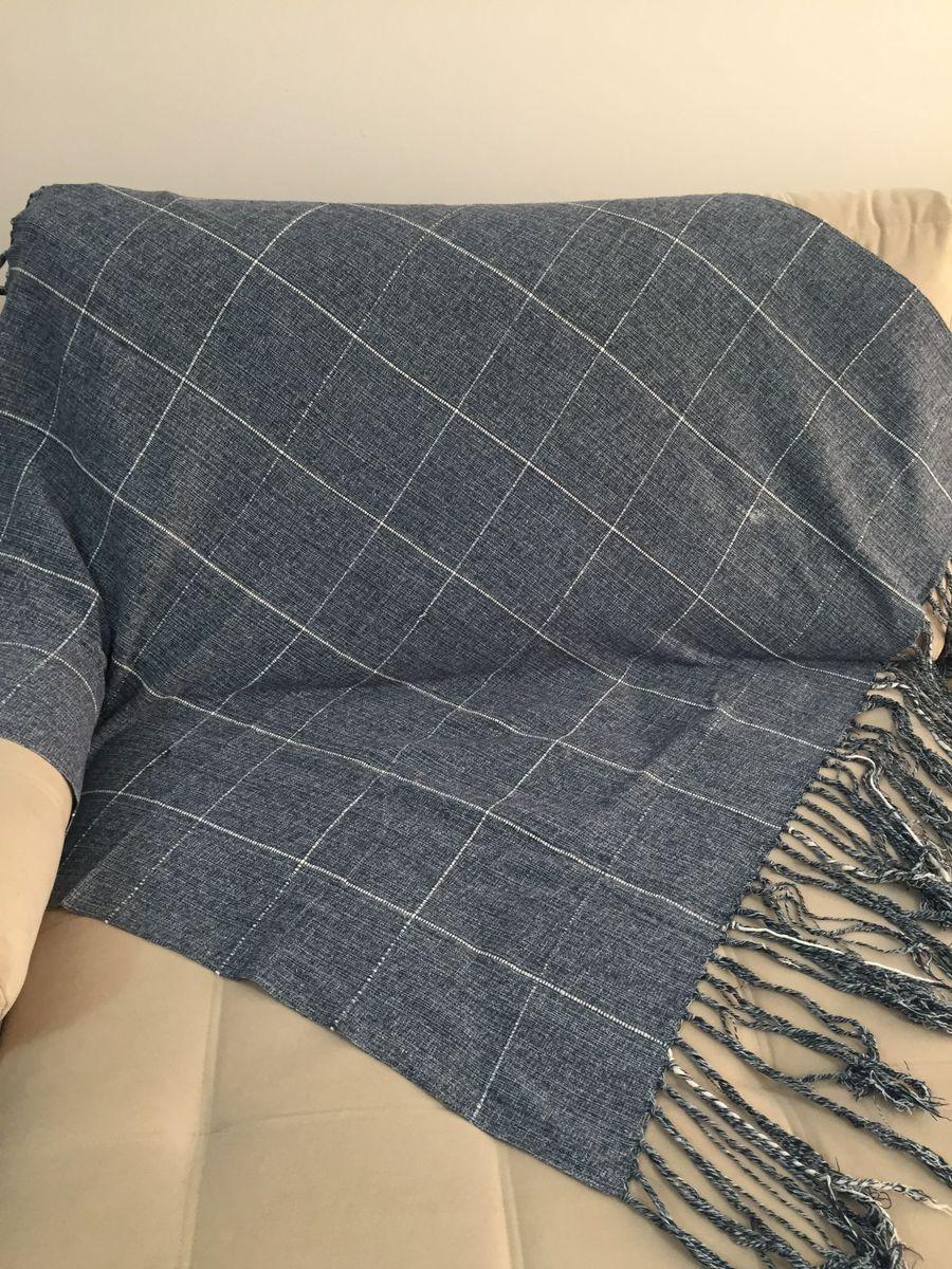 2 Xale Manta Para Sofa Em Tecido Imitando Jeans Com Franjas Item