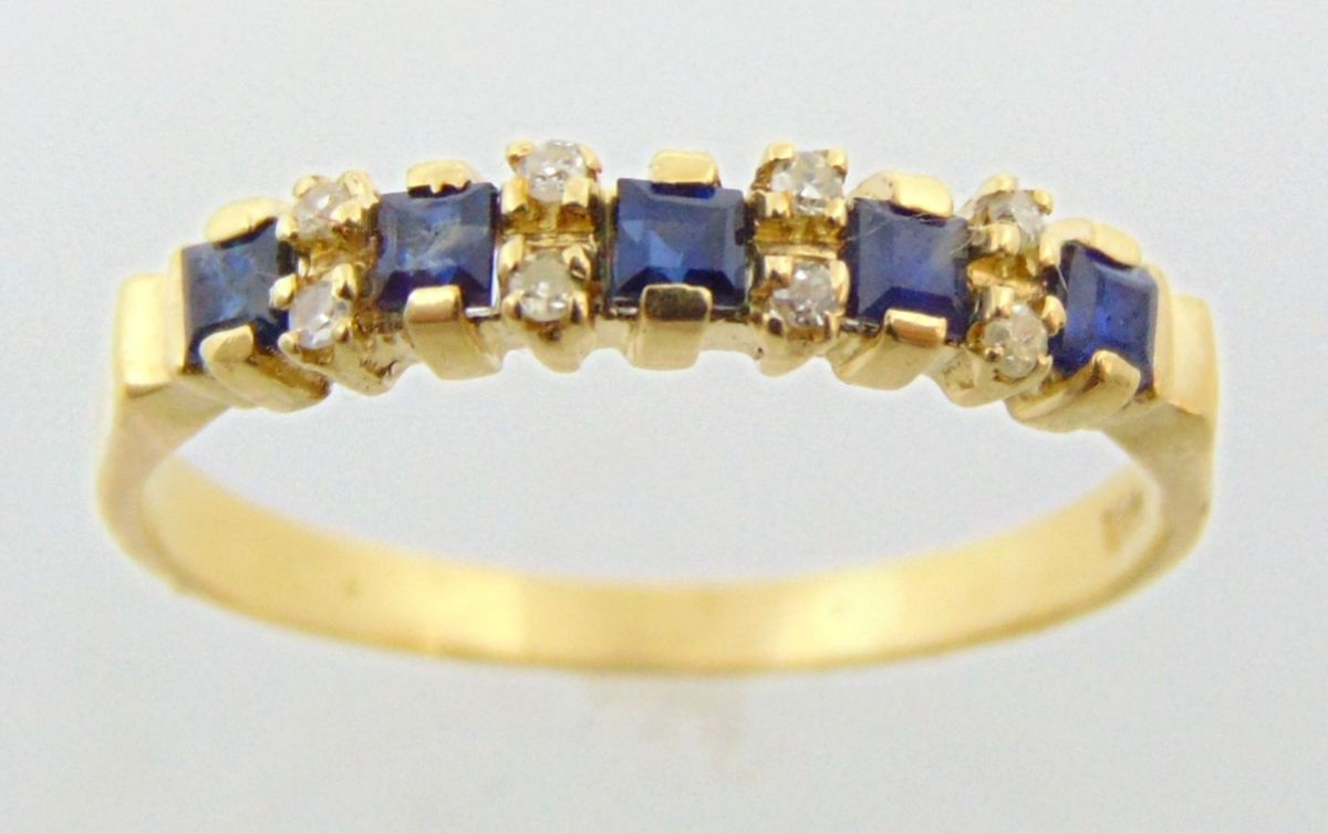3be6071961728 Anel 1 2 Aliança em Ouro 18k C Safiras e Diamantes   Jóia Feminina ...