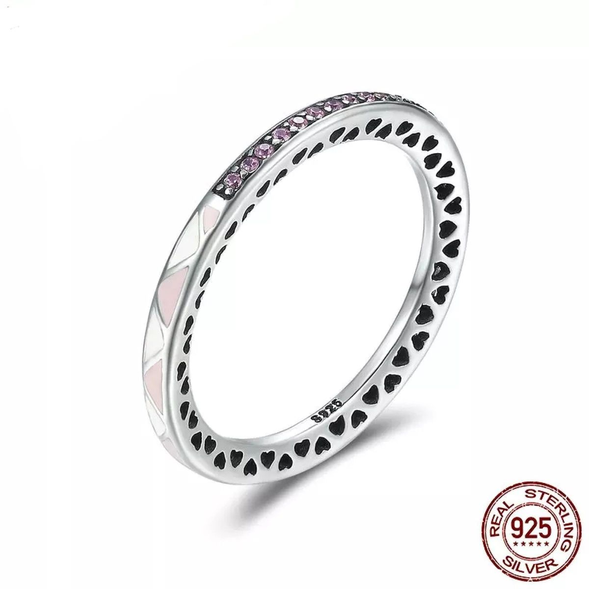 anel em prata esmaltada e zircônias rosas - jóias joia