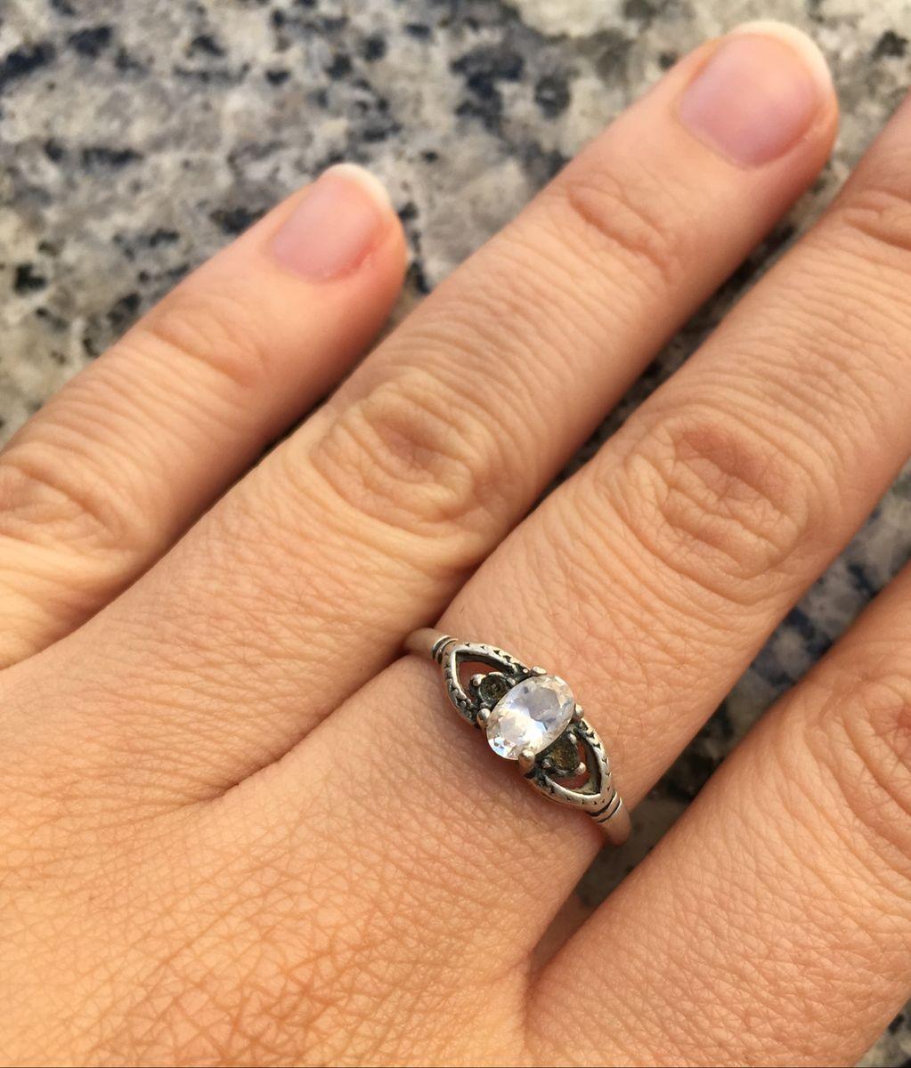 anel prata 925 com pedra - jóias sem marca