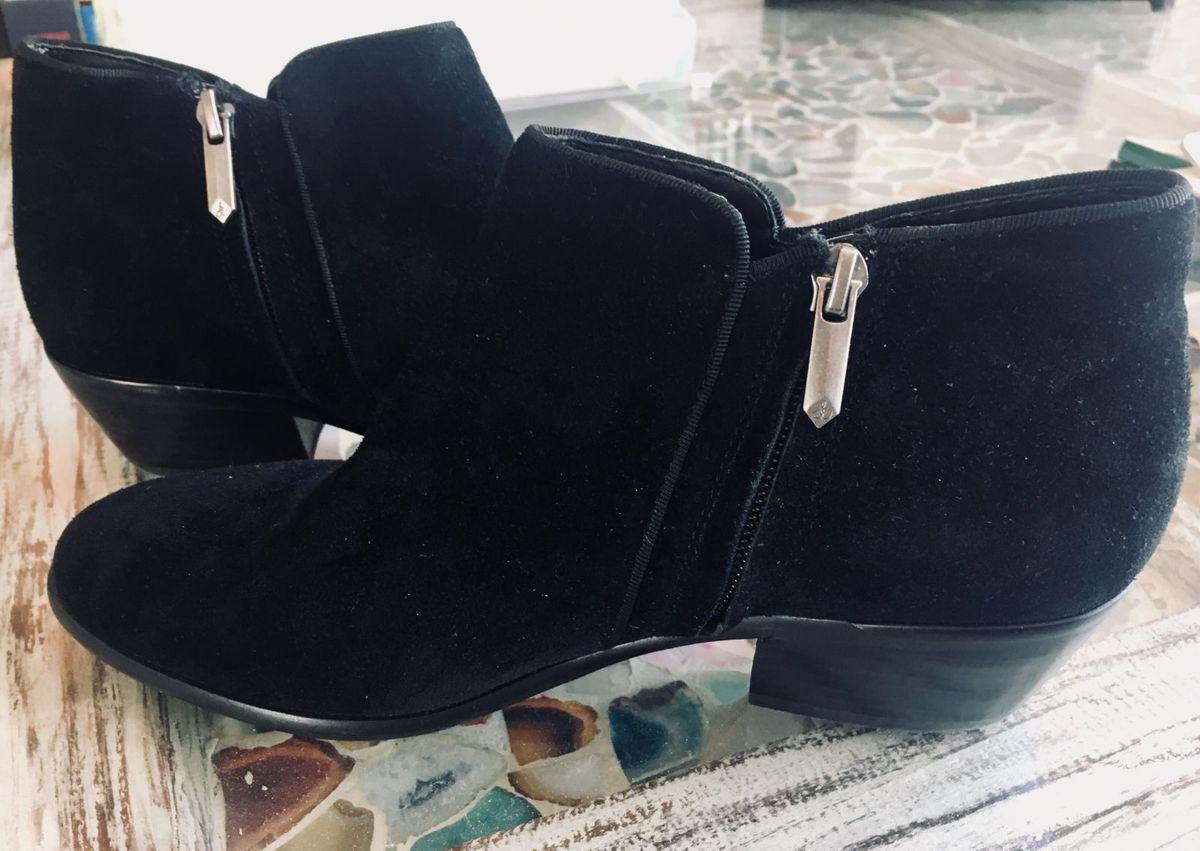 fb48e1ad1a81c Ankle Boot Preta Importada Salto Baixo   Bota Feminina Sam Edelman ...