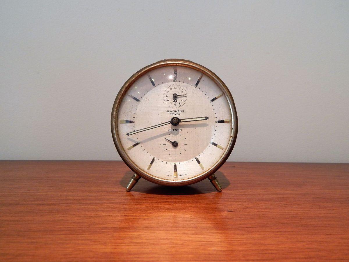 246d229aab9 antigo relógio despertador junghans trivox silentic - decoração junghans