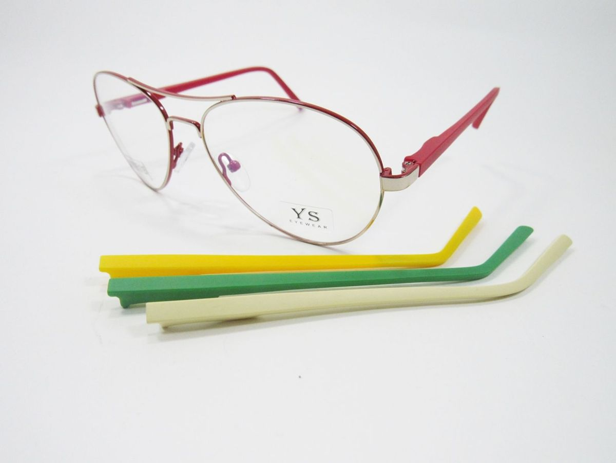 3dd9c93ea armação aviador troca hastes (interno vermelho) lindo,barato - óculos ys