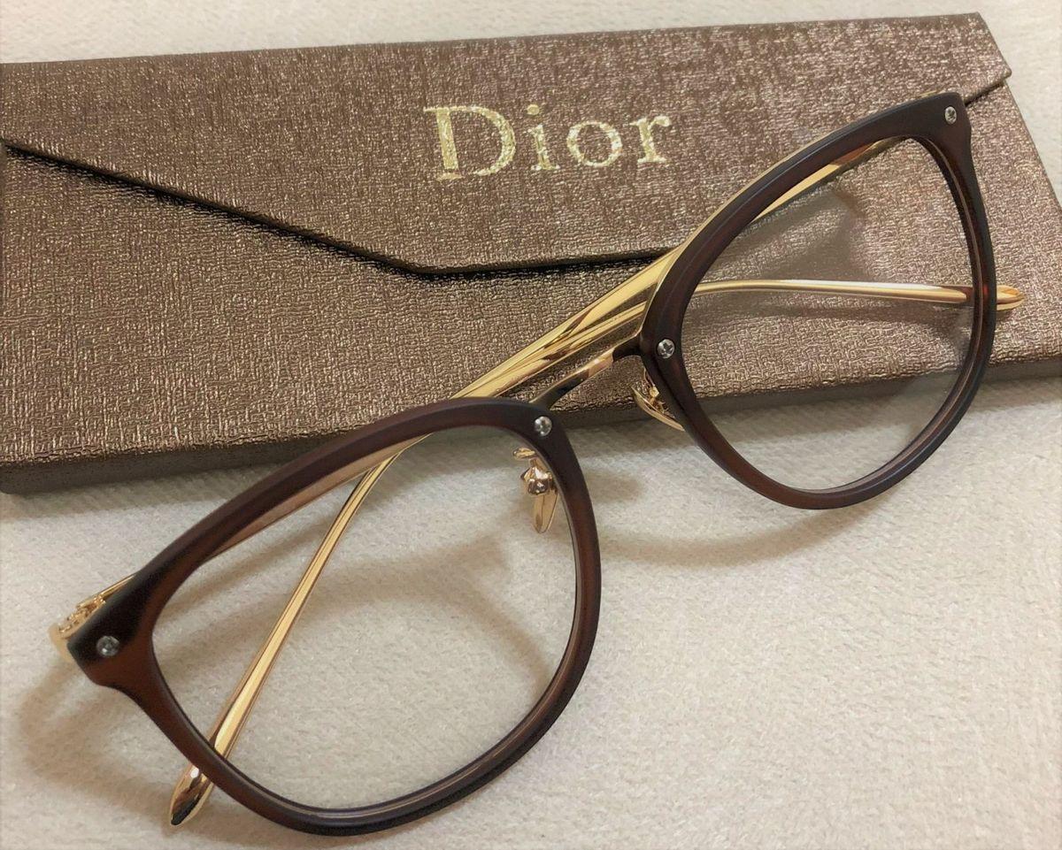 8e194c27ab41c armação de grau feminina dior quadrada gatinha acetato metal dourado marrom  fosca - óculos dior