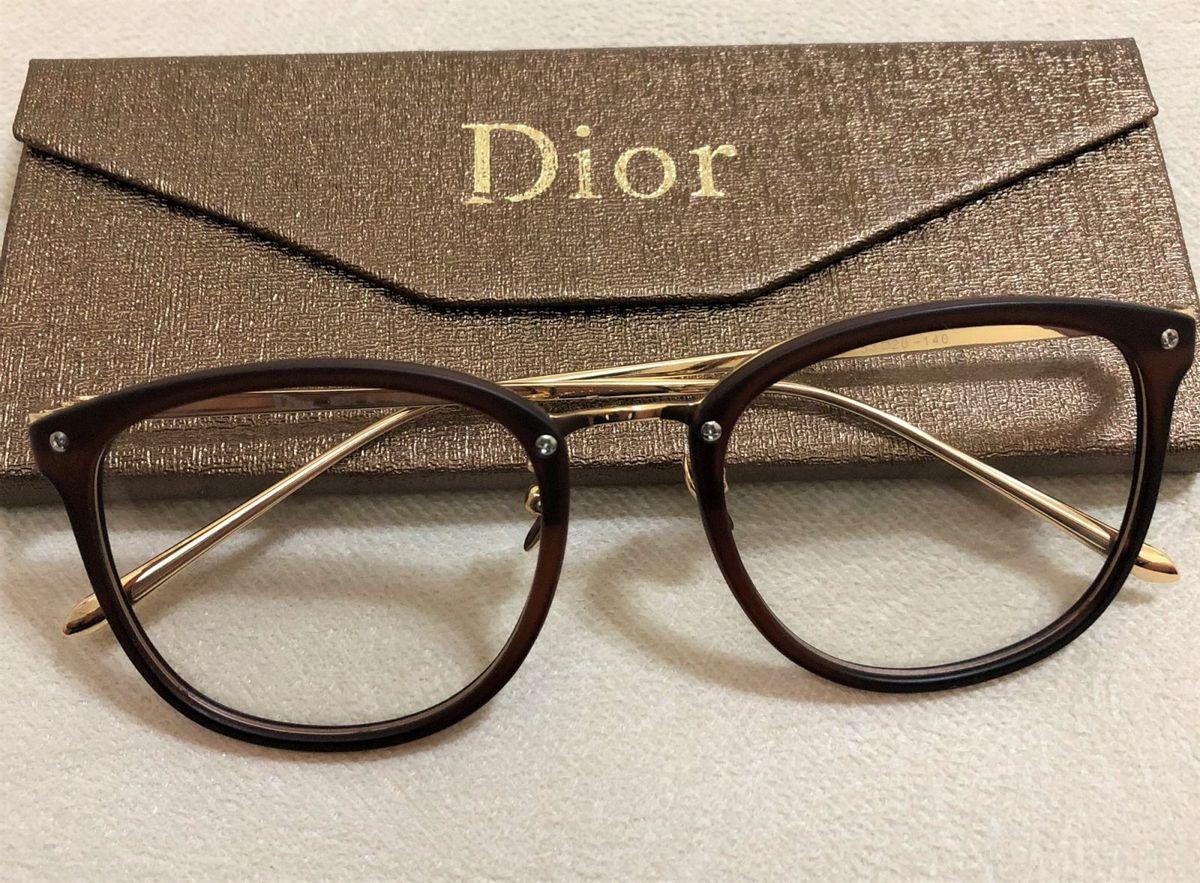 Armação de Grau Feminina Dior Quadrada Gatinha Acetato Metal Dourado Marrom  Fosca   Óculos Feminino Dior Nunca Usado 29591764   enjoei 4f26b34397