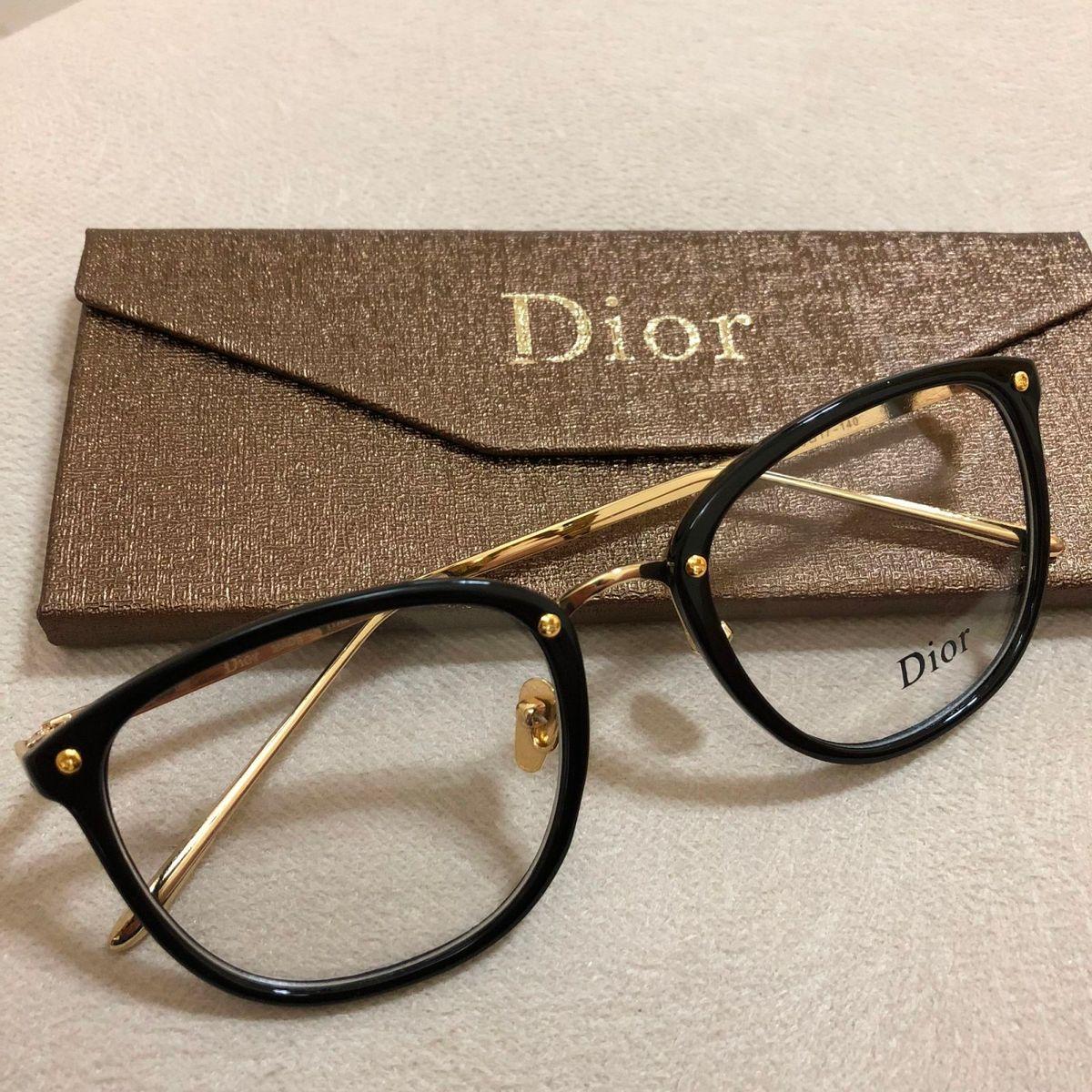 454c4416e armação de grau feminina dior quadrada gatinha acetato metal dourado preta  preta - óculos dior