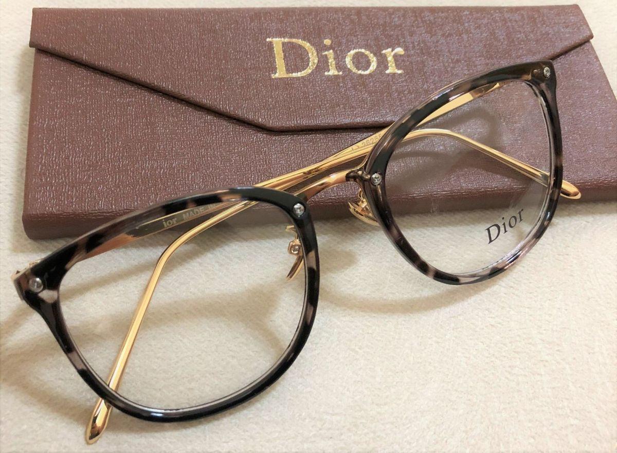 1008956ac33 armação de grau feminina dior quadrada gatinha acetato metal dourado preto  onça branco - óculos dior