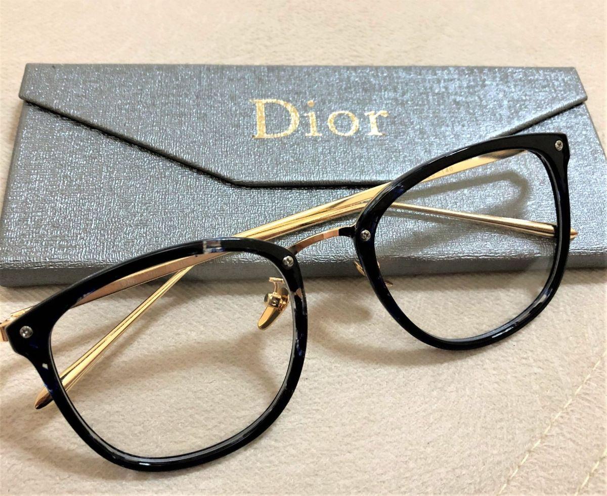 9215edae753 armação de grau feminina dior quadrada gatinha acetato metal preto marmore  - óculos dior