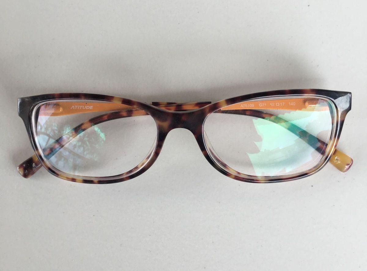 2f2bb5f130c1e Armação de Óculos com Lente de Grau   Óculos Feminino Atitude Usado ...