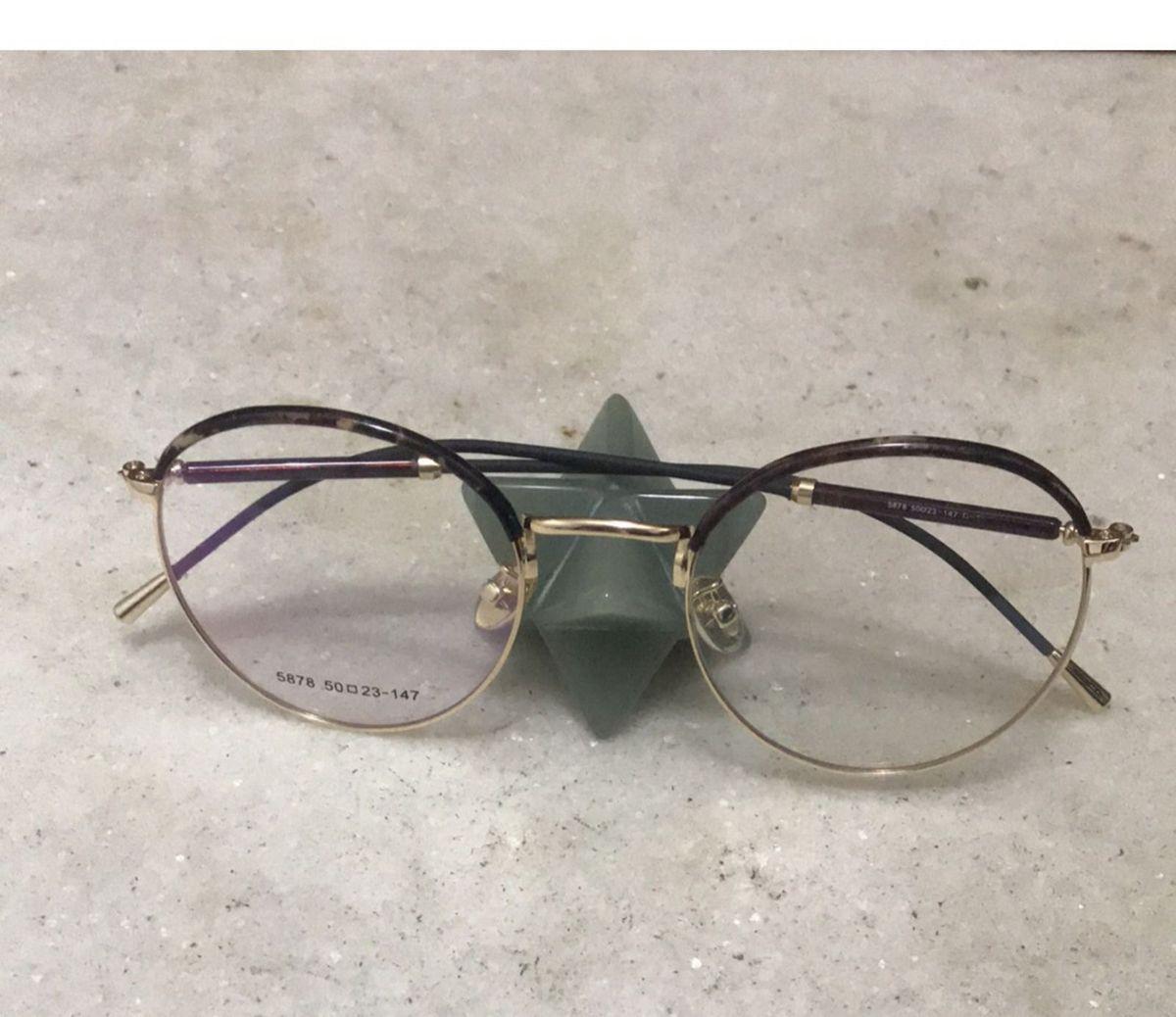 armação de óculos para grau redonda dourada e tartaruga - óculos sem marca 08c7d6828c