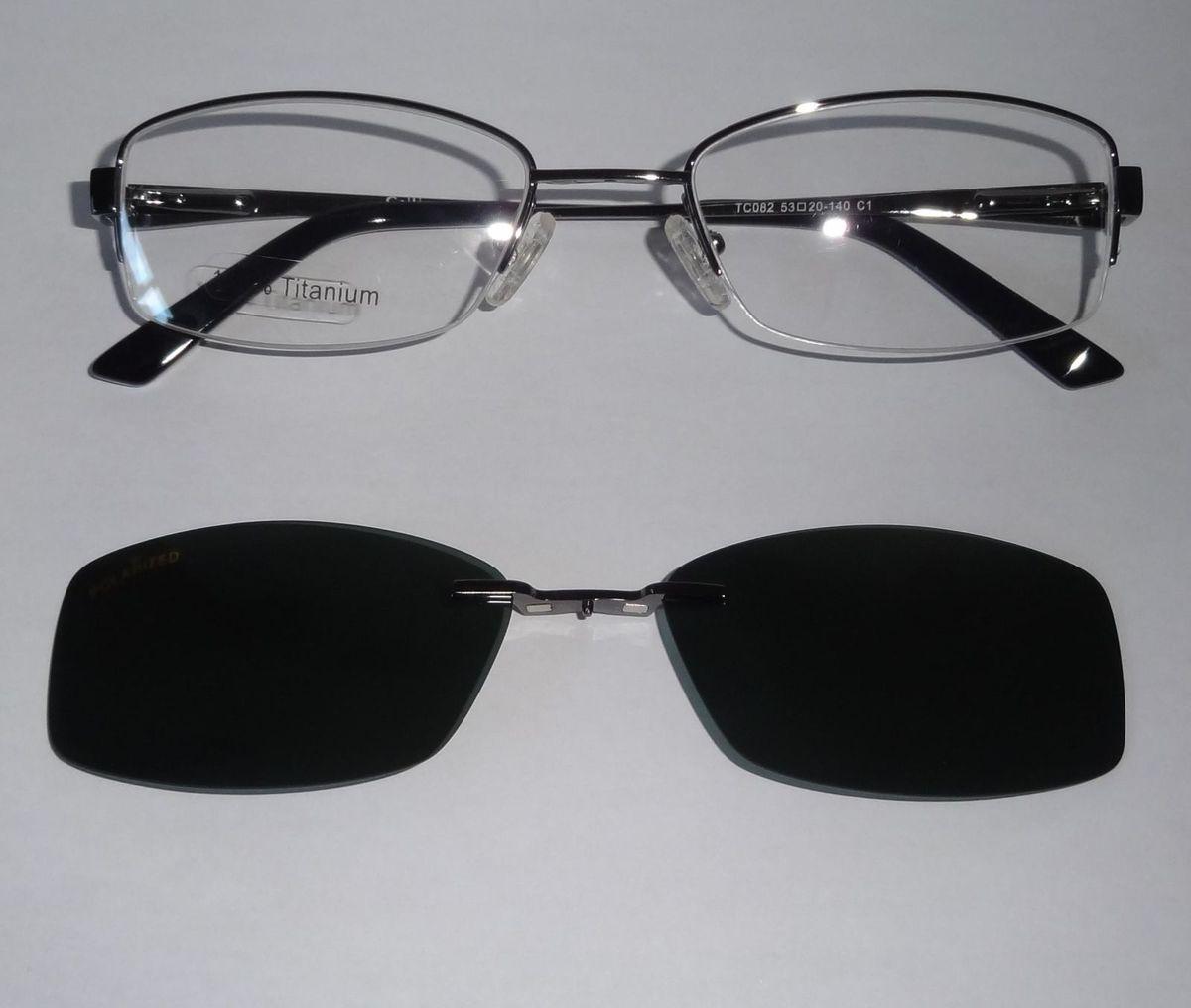 armação em titânio para grau com clipon uv polarizado - óculos sem marca 3ccc6fb6ae
