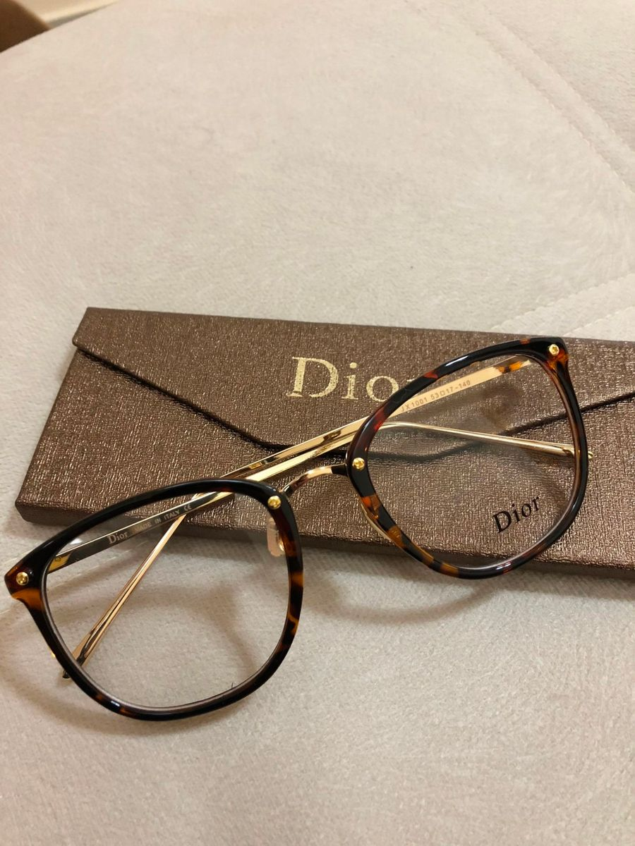 00494aa0246 armação grau dior feminina quadrado acetato tartaruga - óculos dior