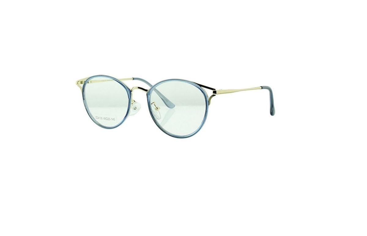 6688d1b5b armação óculos de grau feminino lentes redondas com metal cor azul com  dourado retrô vintage moda