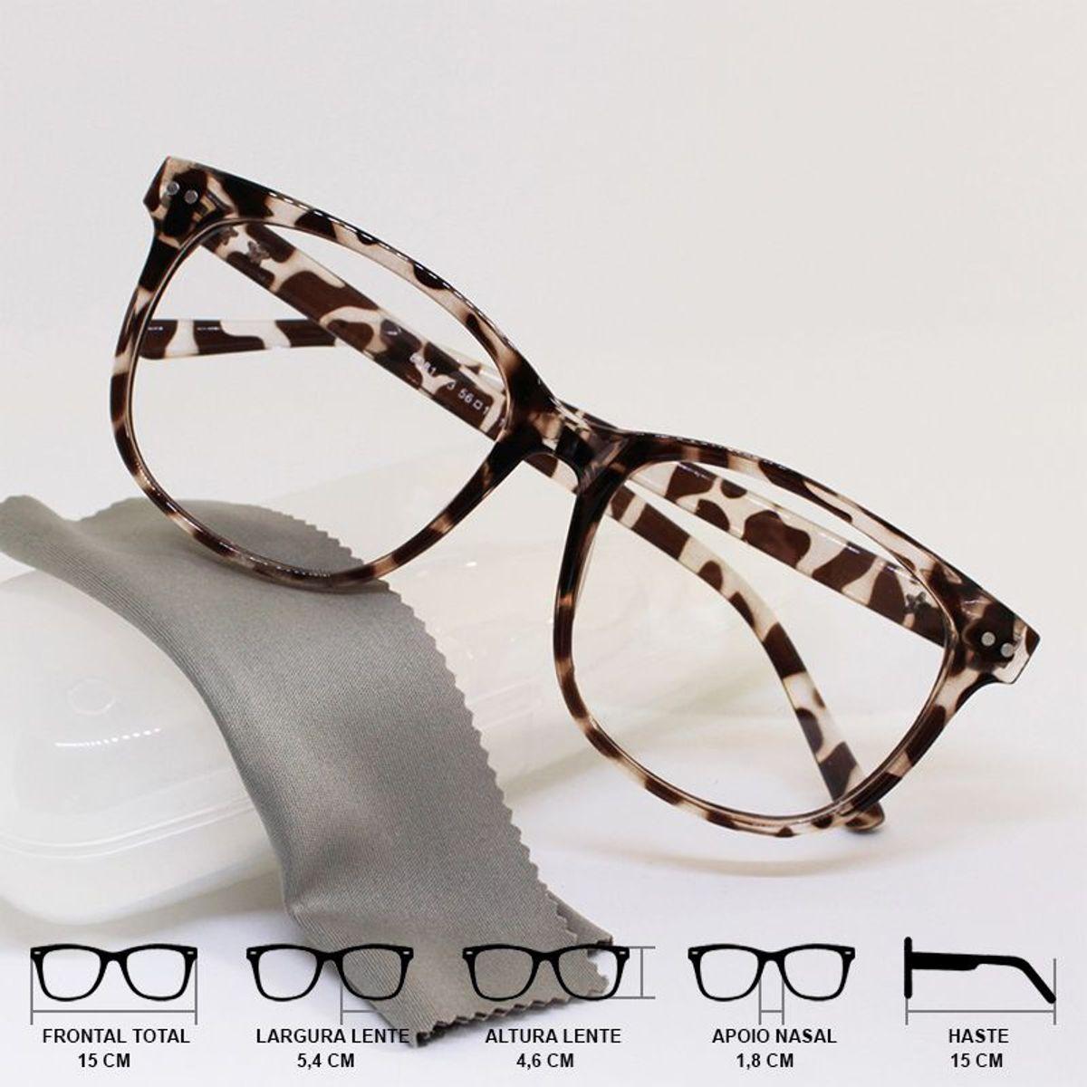 93c088d1b Armação Óculos Grau Feminino Grande Quadrado Nerd Oncinha | Óculos Feminino  Nunca Usado 33409558 | enjoei