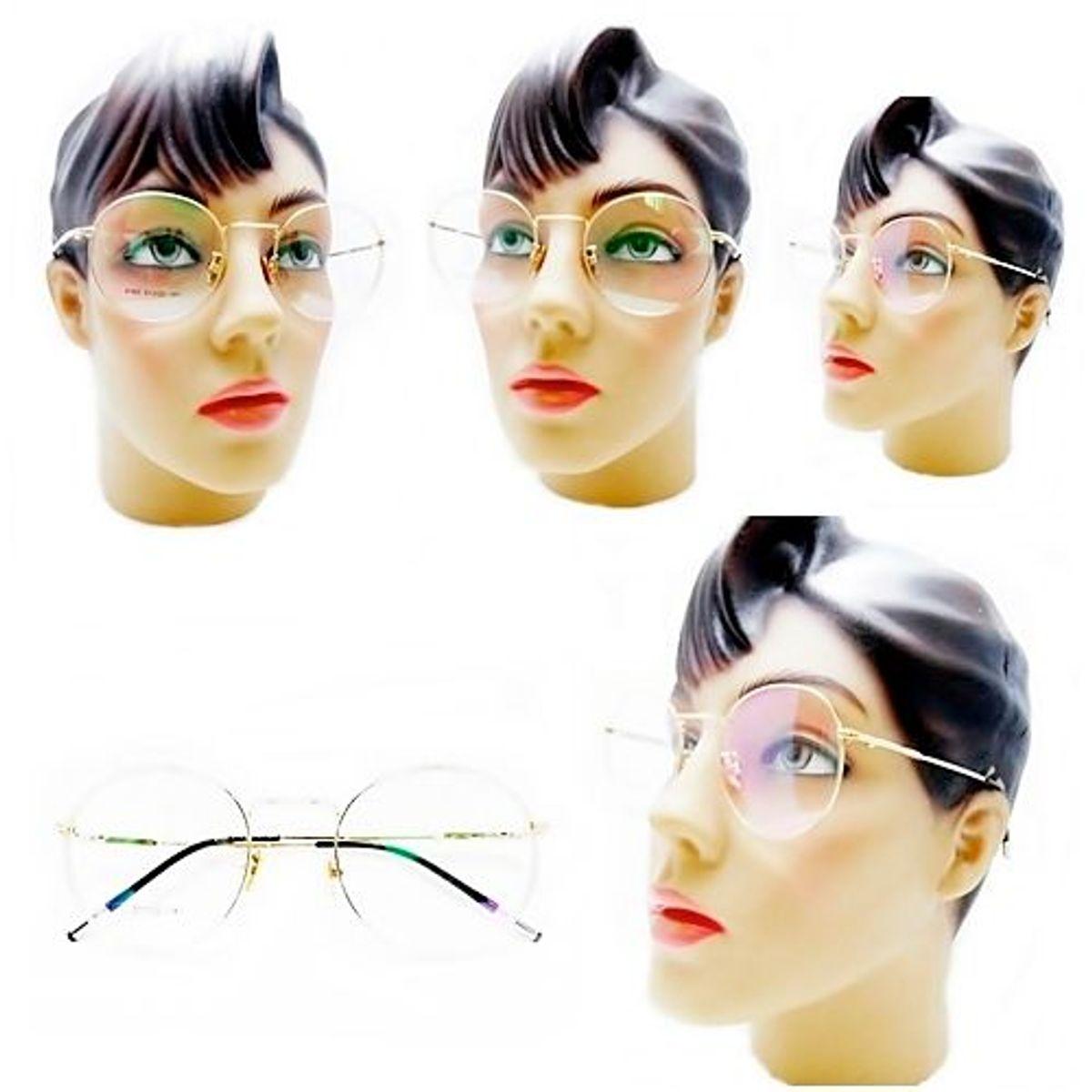 dceb2b15c oculos de grau redondo feminino retro vintage metal dourado - óculos sem  marca
