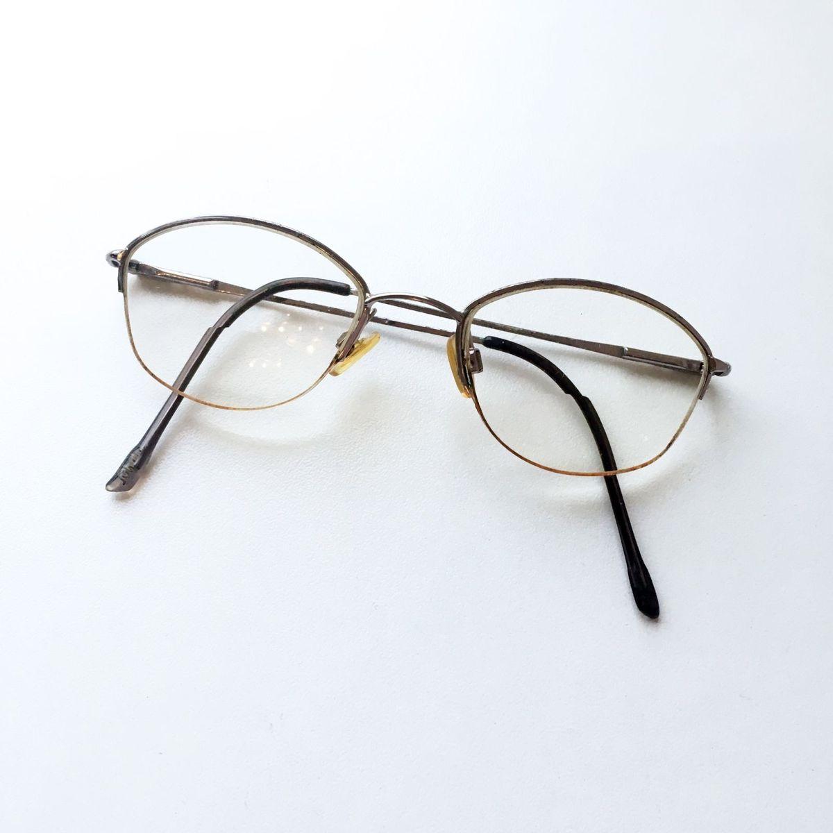 a728892390878 Armação Óculos Oval Meio Aro Metal Retrô   Óculos Feminino Tecnol ...