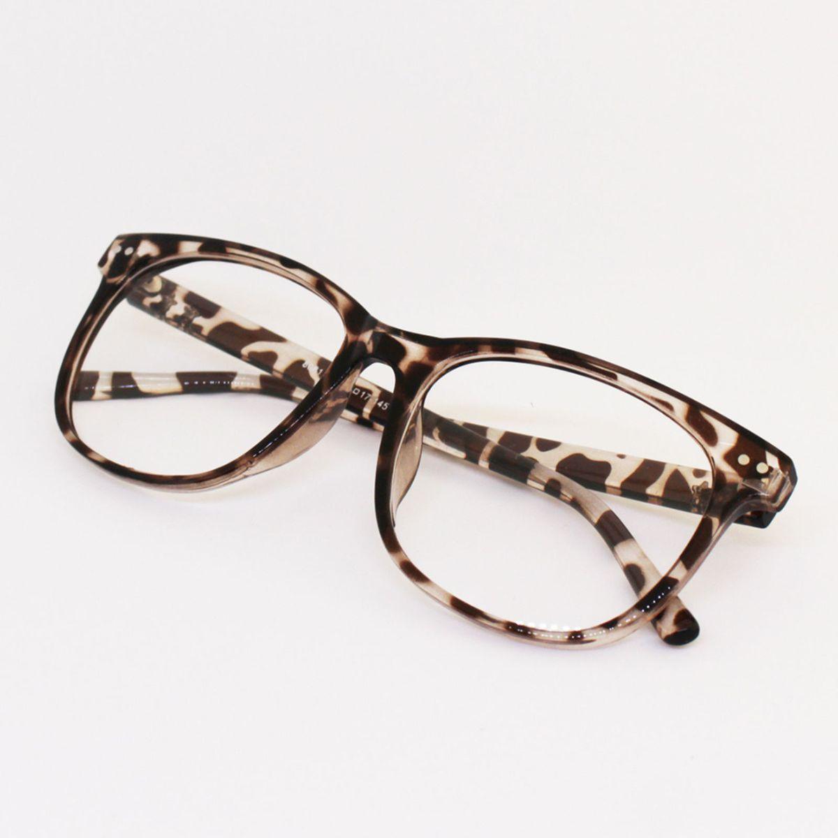 armação óculos para grau feminina quadrada marrom leopardo oncinha tartaruga  - óculos sem marca 1870016955