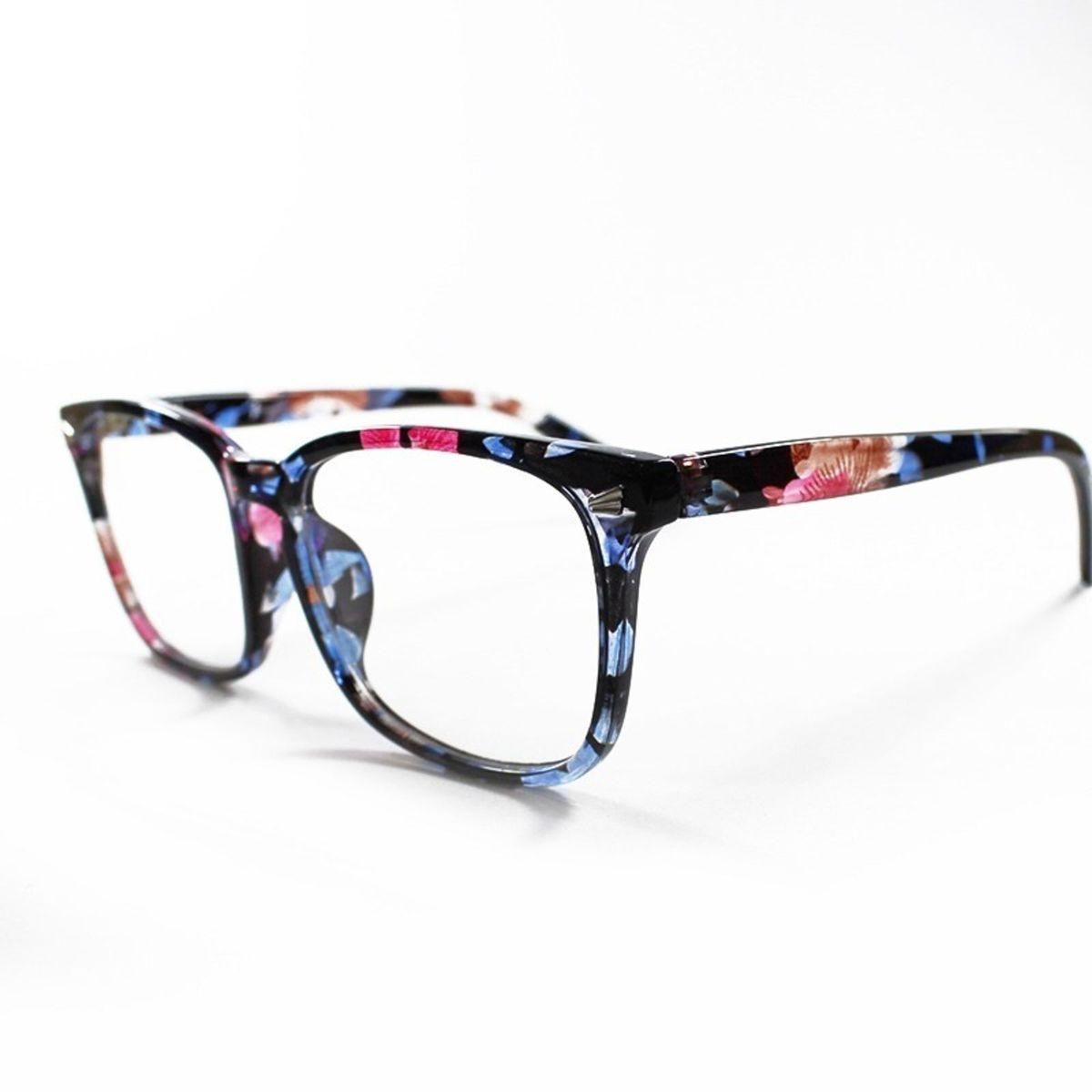 53eb87b21bfee armação óculos para grau feminina quadrada retangular básica floral - óculos  sem marca