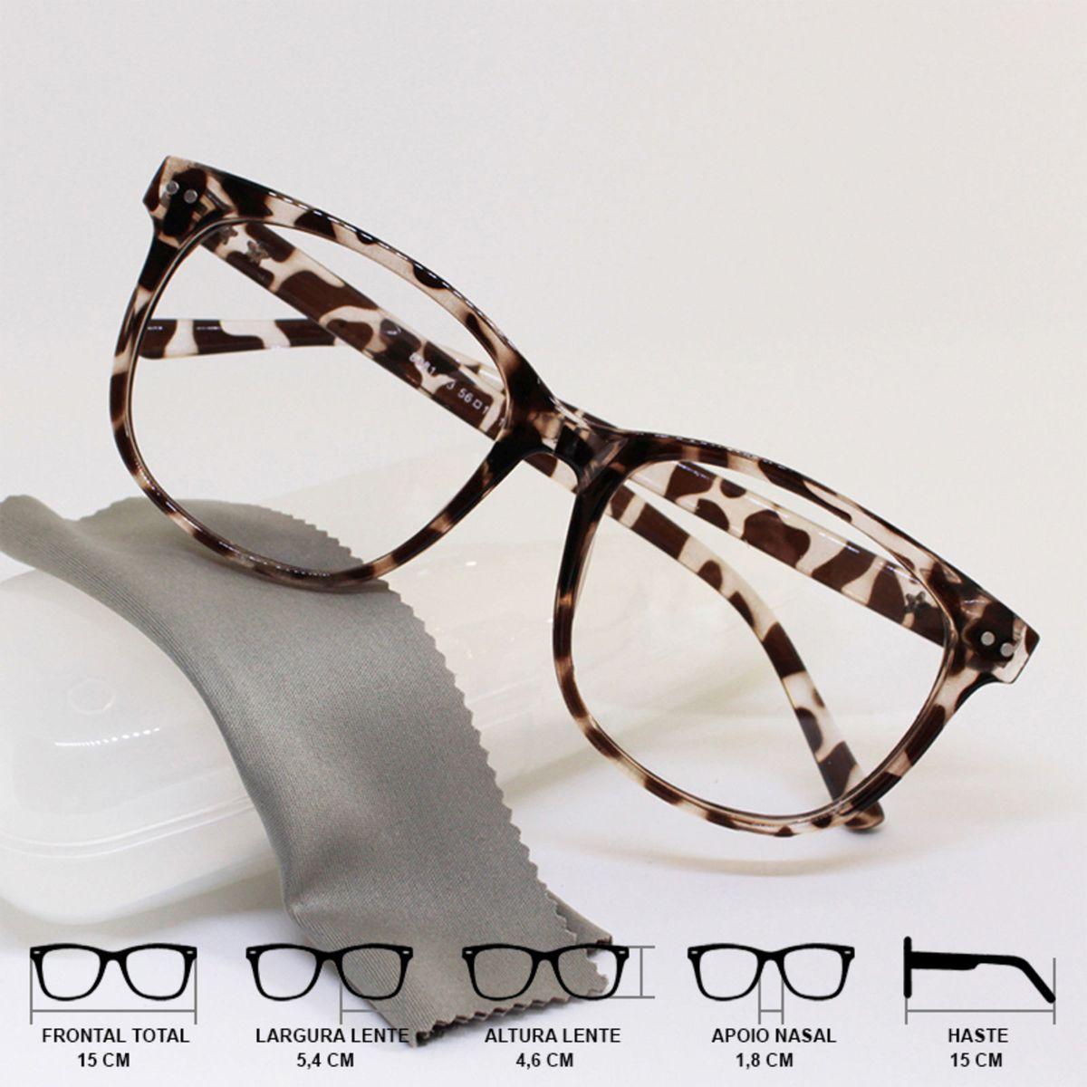 f00c0d4885d9a Armação Óculos para Grau Feminina Quadrada Tartaruga Oncinha Leopardo