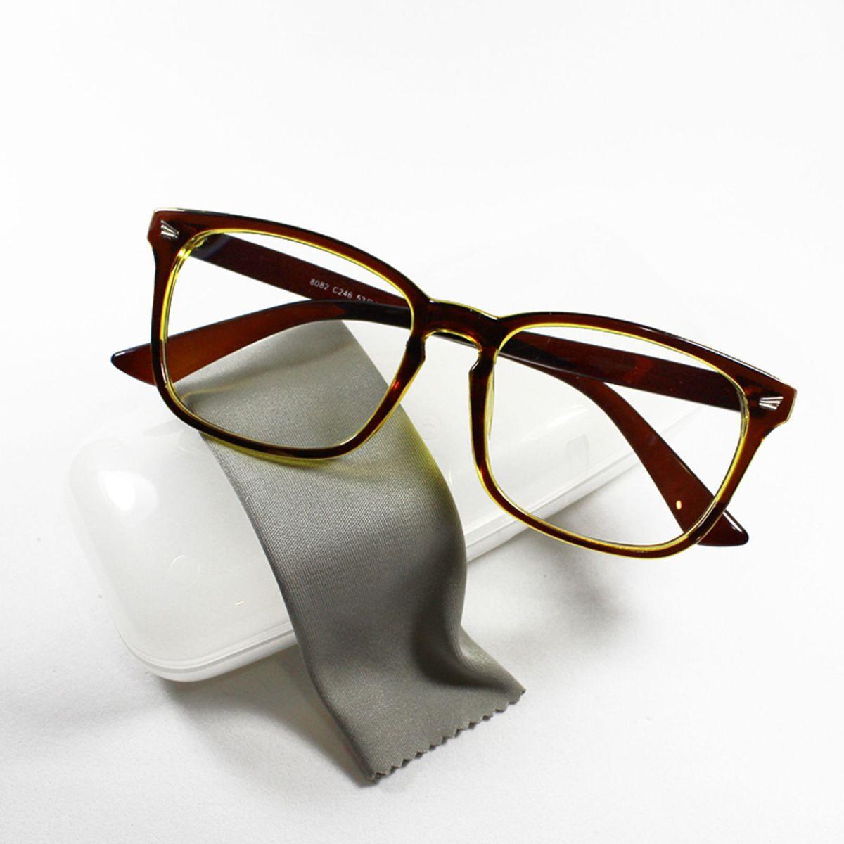 armação óculos para grau feminina retangular quadrada básica marrom amarelo  - óculos sem marca 7863d2821c