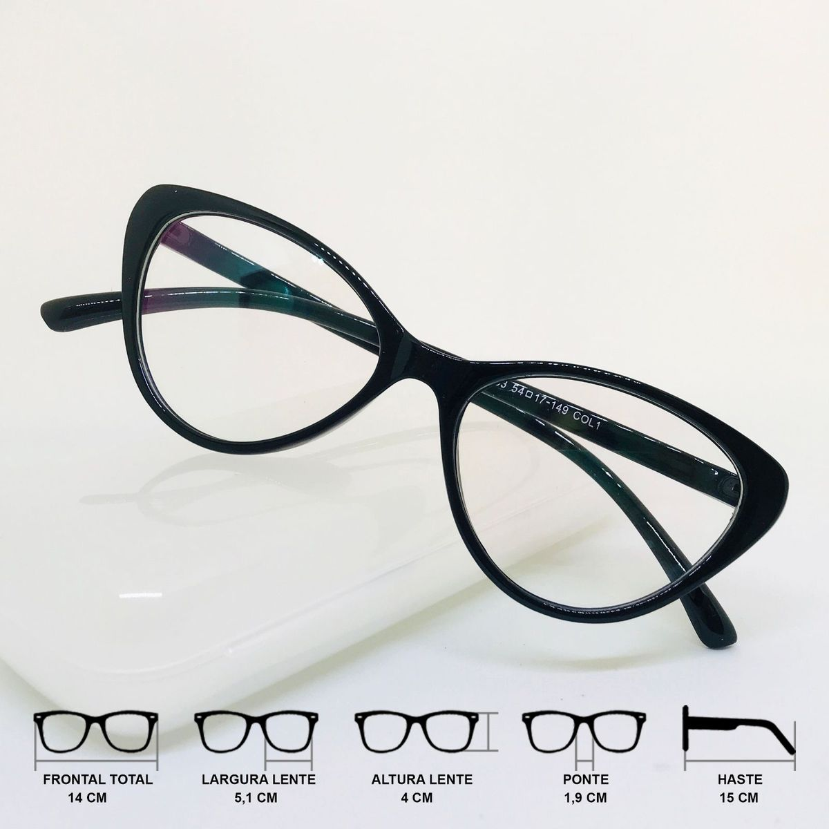6229dd4a4 armação óculos para grau feminino gatinho cat eye degradê preto - óculos  sem marca