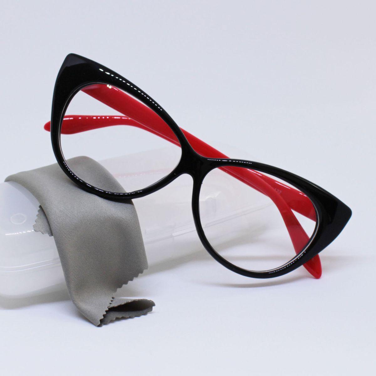 armação óculos para grau gatinho feminina preto e vermelho - óculos sem  marca 488dd94b0e