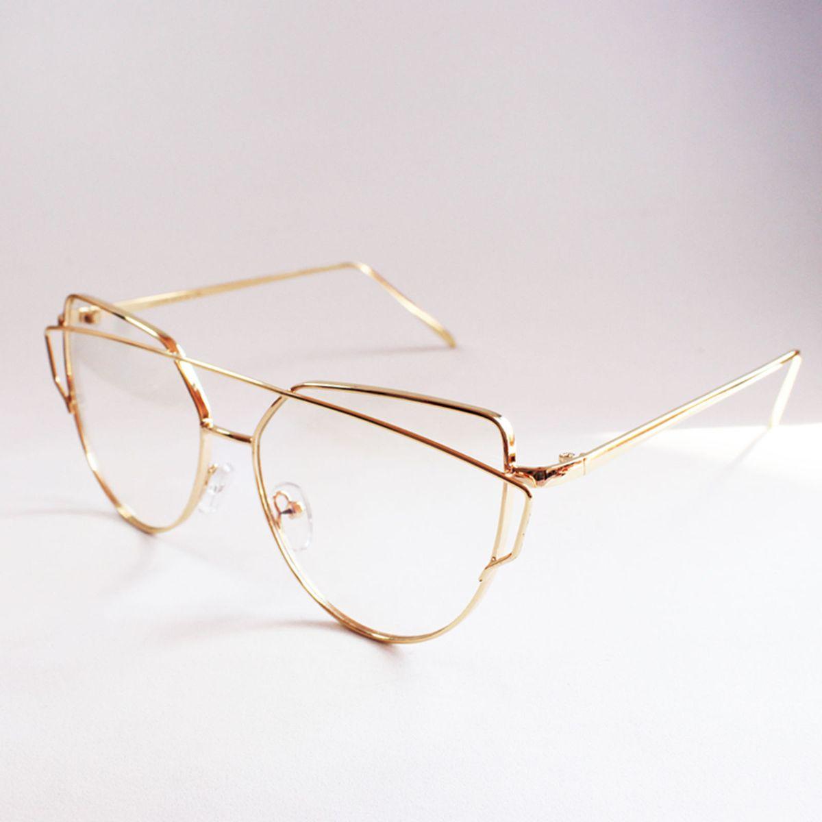 0007af80491f4 não reativar - armação óculos para grau metálica estilosa feminina dourada  - óculos sem marca