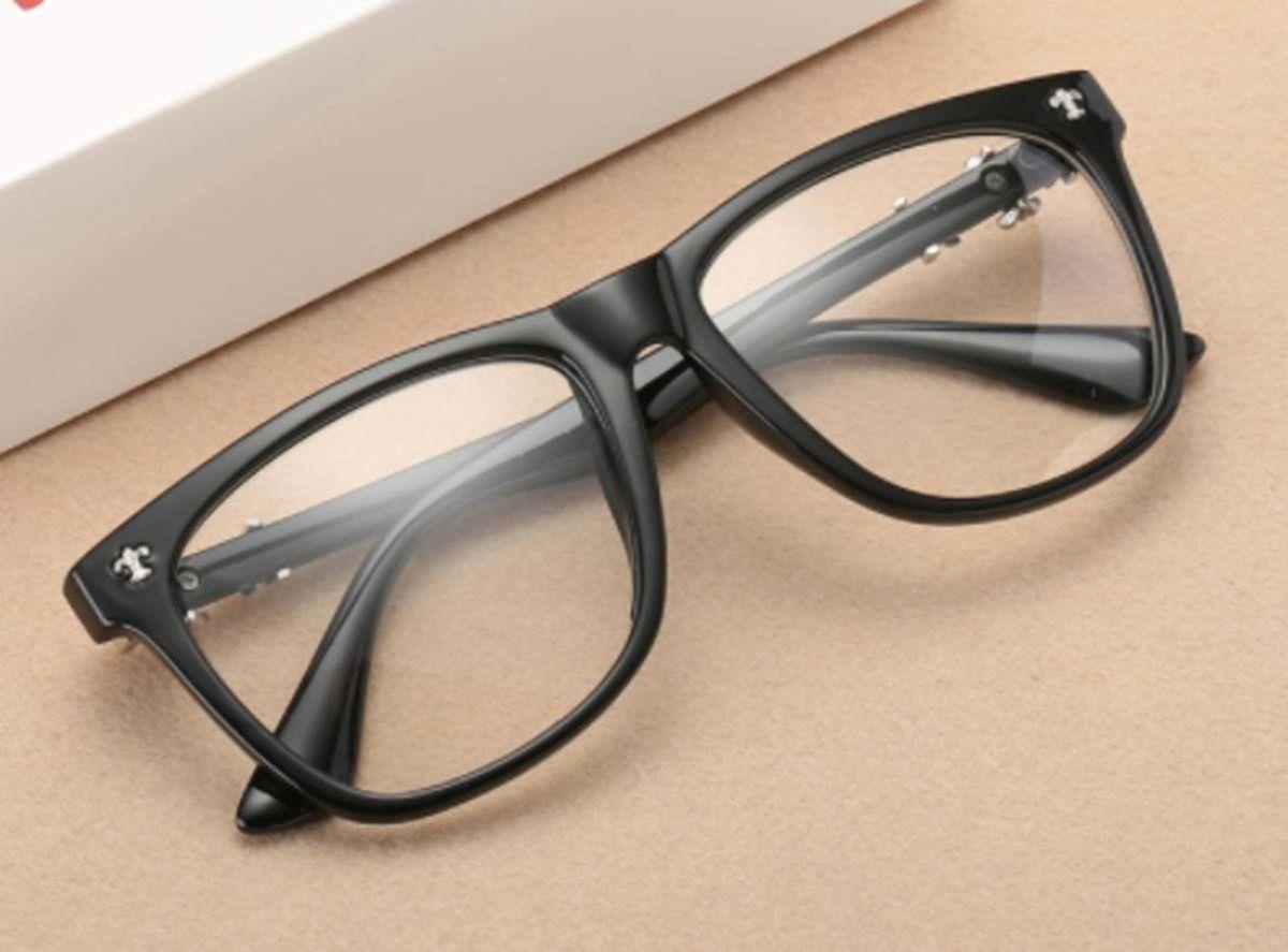 armação óculos para grau quadrada preto fosco detalhe cruz prata - óculos  sem marca 98e44b0e68