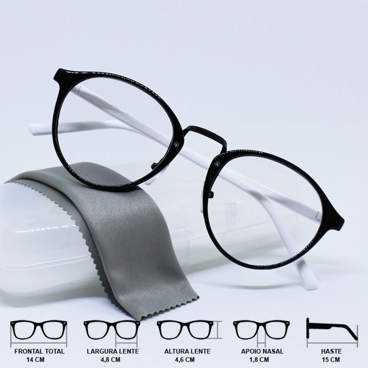 858d798c9360c armação óculos para grau redondinha clássica branco e preto - óculos sem  marca