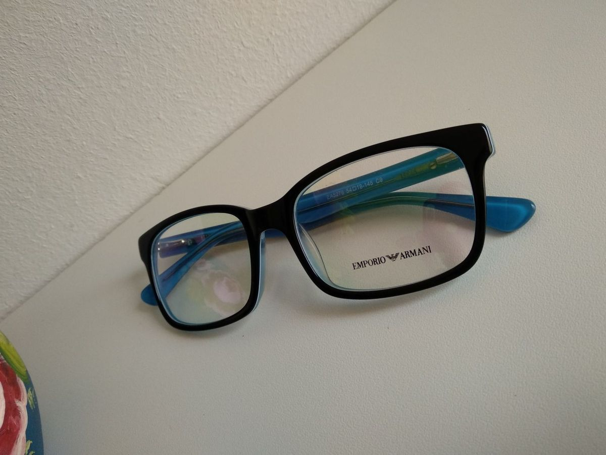098ebfd1e8955 Armação Óculos Unissex Emporio Armani   Óculos Feminino Emporio Armani  Usado 30057705   enjoei