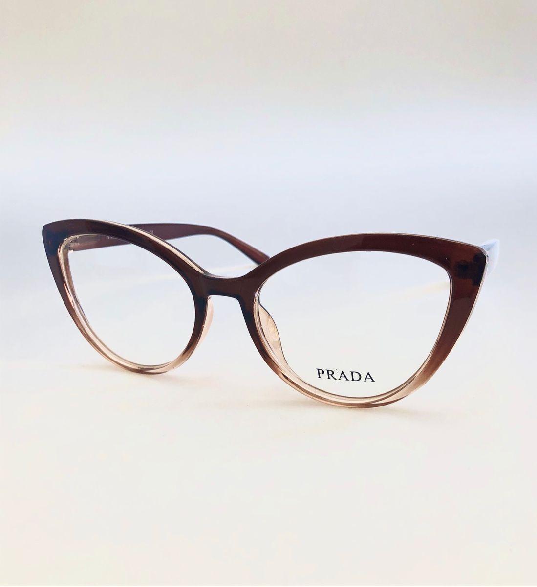 Armação para Óculos de Grau Feminina Prada Bicolor Gatinha Marrom Escuro  com Translúcido   Óculos Feminino Prada Nunca Usado 10   enjoei