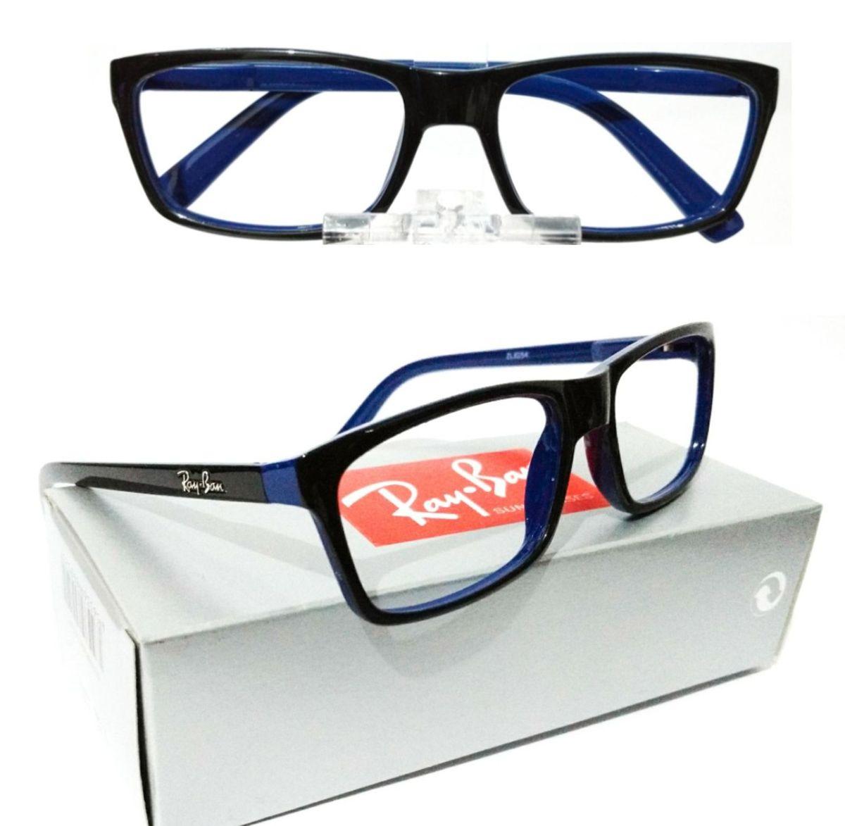 armação para óculos de grau ray-ban preto brilho com fundo azul feminino e  masculino bf4da0f8d4