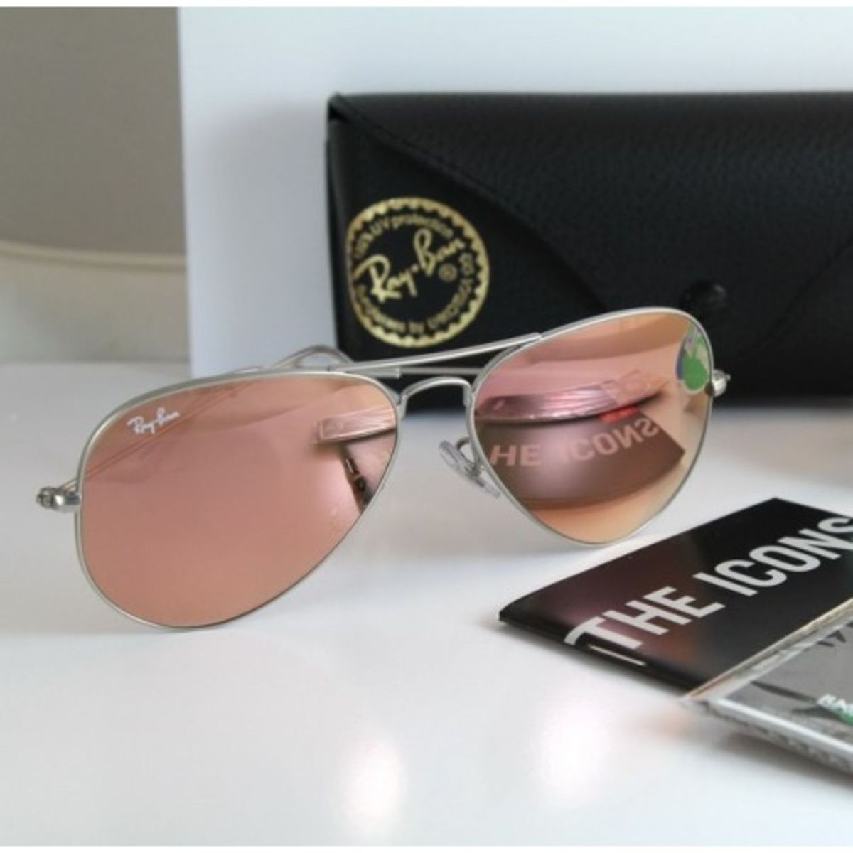 Aviador Grande Prata Rosa Espelhado   Óculos Feminino Ray Ban Nunca ... 9732fe9fde