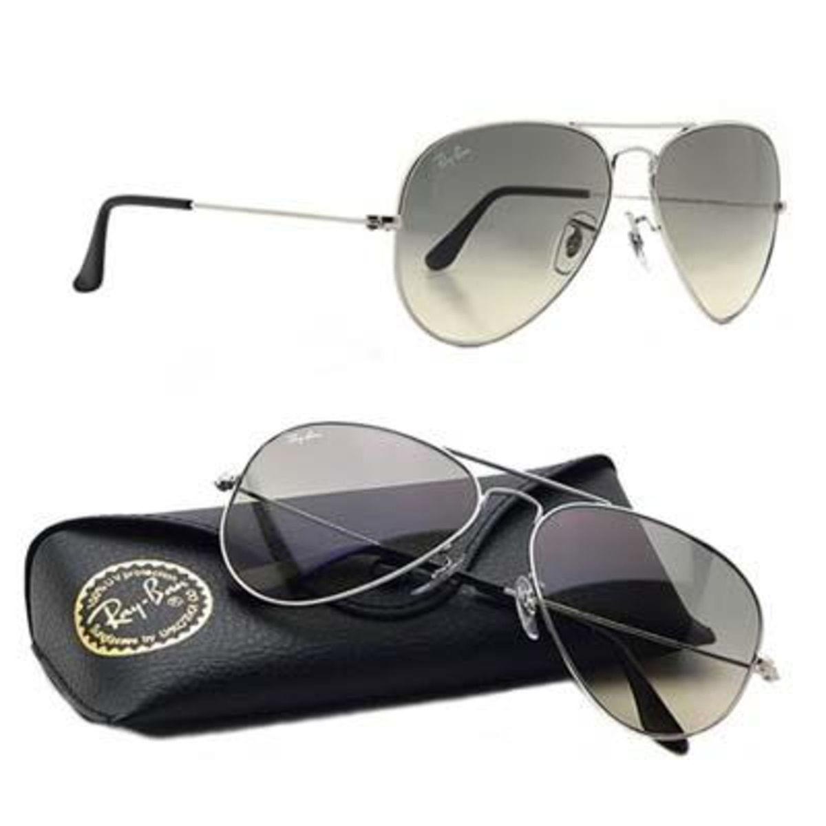 2456b0b582faf Aviador Prata Fume Degrade Médio   Óculos Masculino Ray Ban Nunca ...