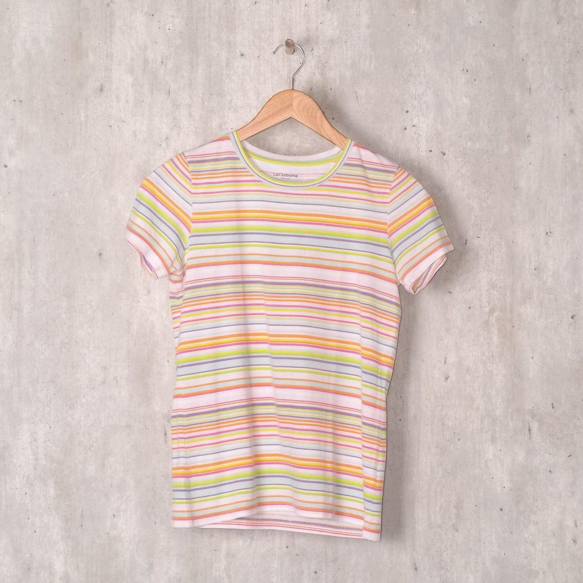 67a8f946e Baby Look Listrada Colorida | Blusa Feminina Liz Claiborne Usado 31163976 |  enjoei