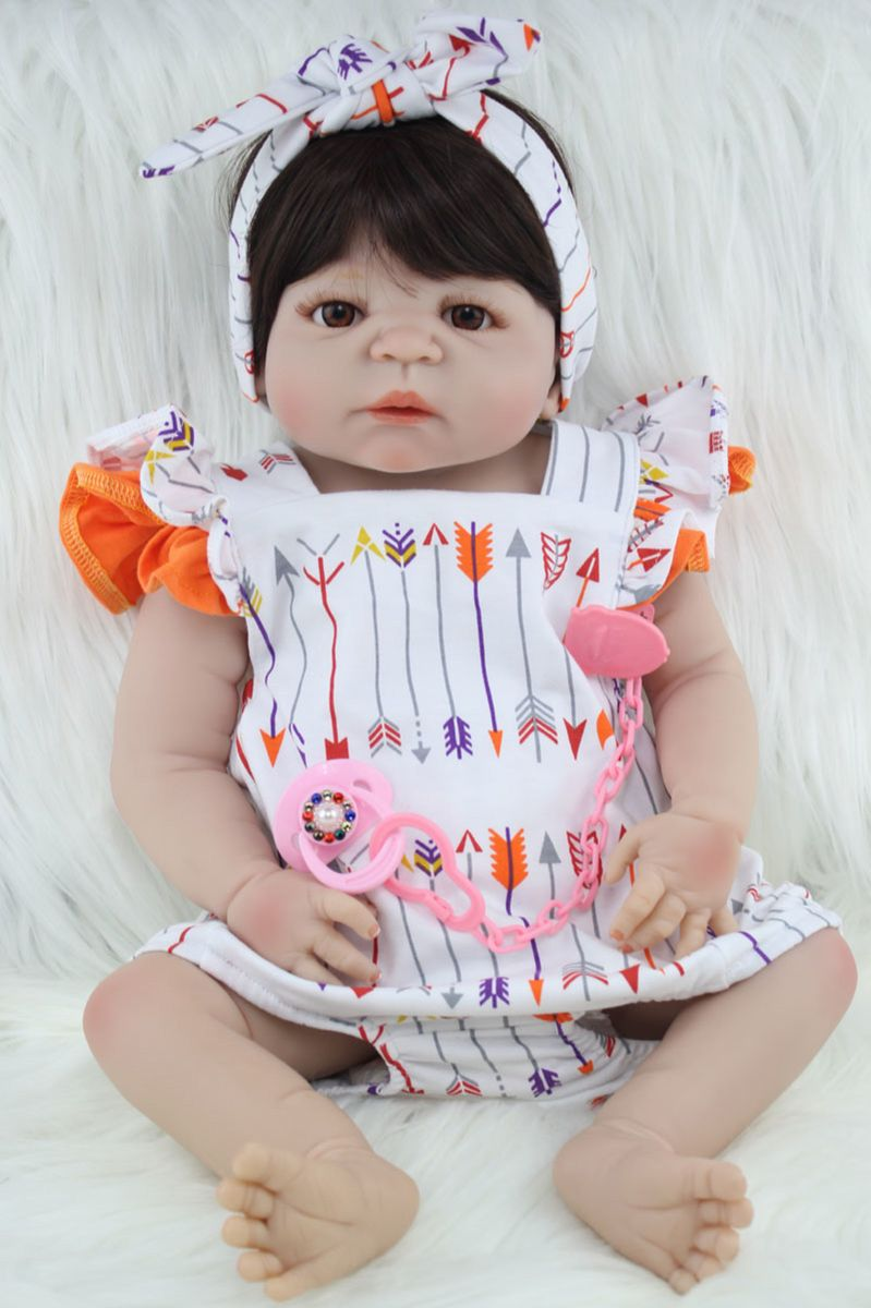 bebê reborn barato morena menina silicone frete grátis as014 - pequeninos  npk 480adf1f570