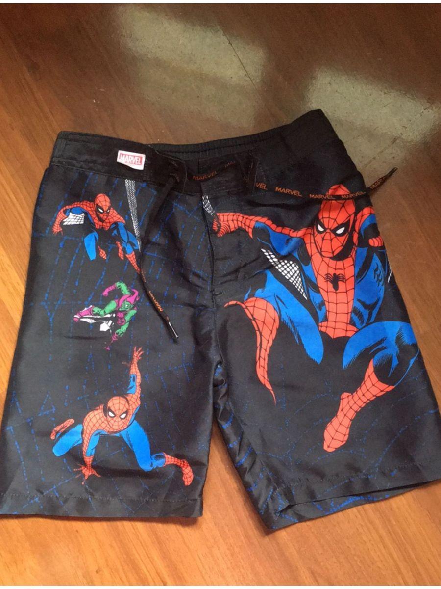 bermuda kids preta táctel com detalhes homem aranha tam 6 de velcro -  menino c-e-a 50ac25431a3