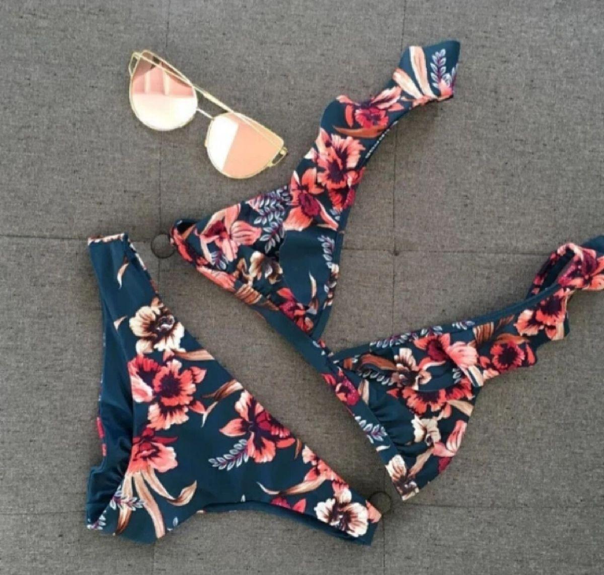 biquini floral com bojo - praia sem marca
