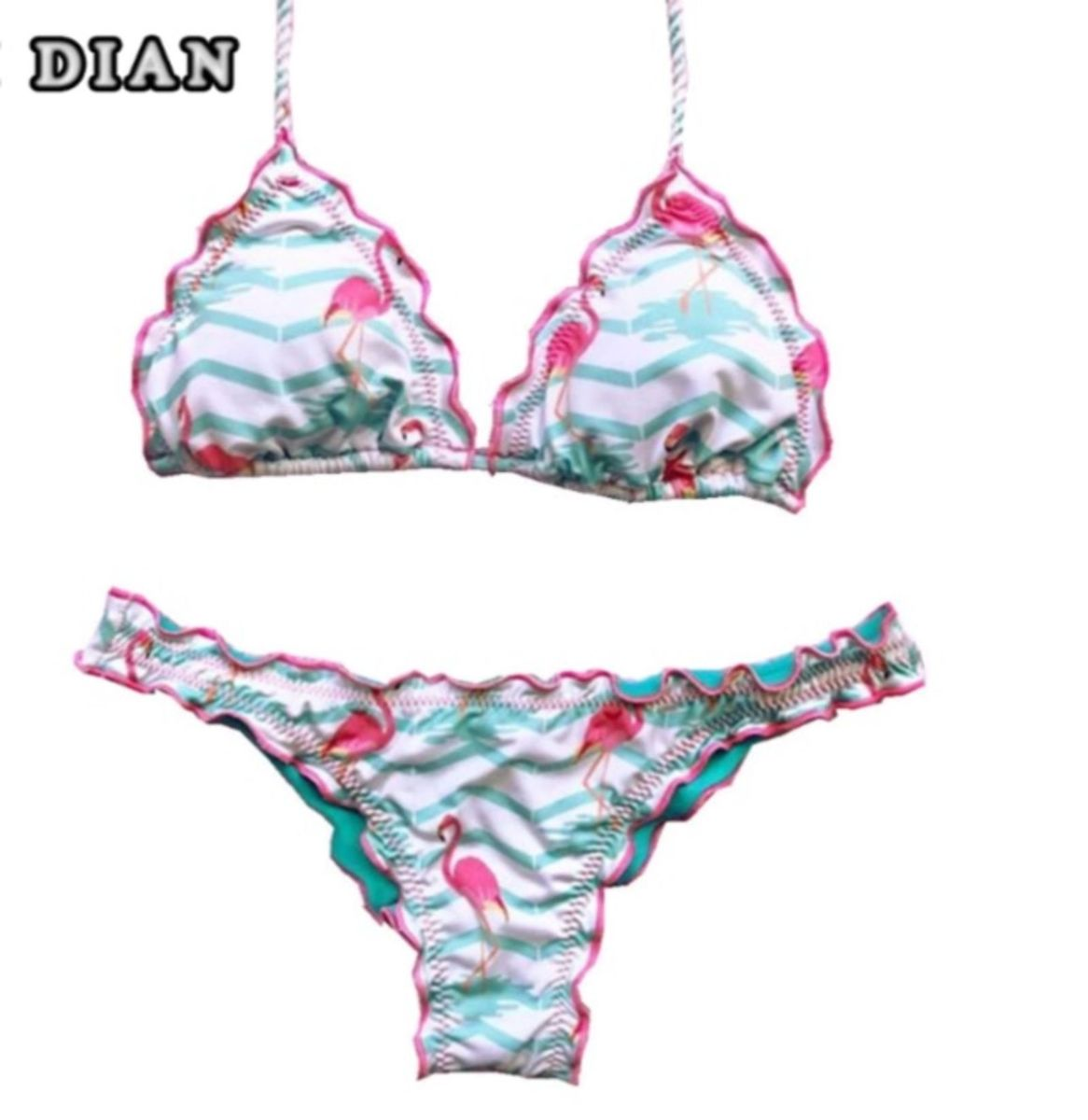 94d83a190 lindo biquíni candy ripple flamingo tamanho m com babados praia rosa e  branco - praia importado