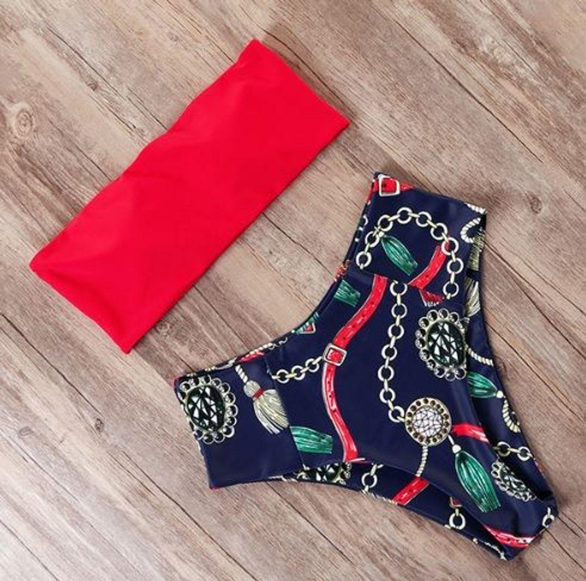biquini vermelho e azul estampado - praia sem marca