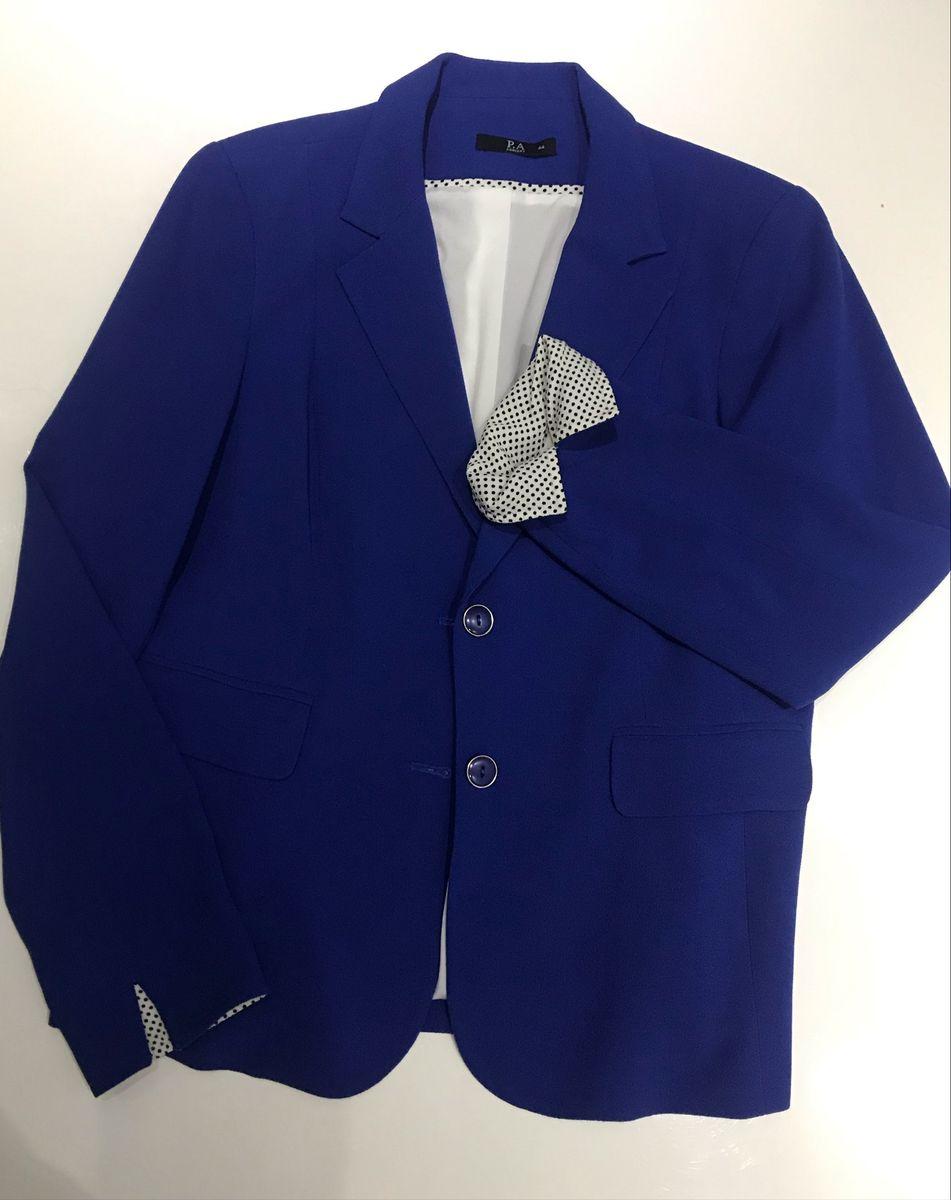 blaser azul, marca p a concept, tecido viscose, forrado, nunca usado - casaquinhos p-a-concept