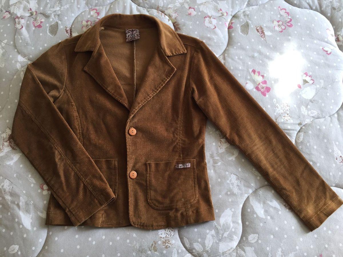35cf982f94617 blazer jaqueta marrom de tecido cotelê, tipo veludinho, da oslo -  casaquinhos oslo