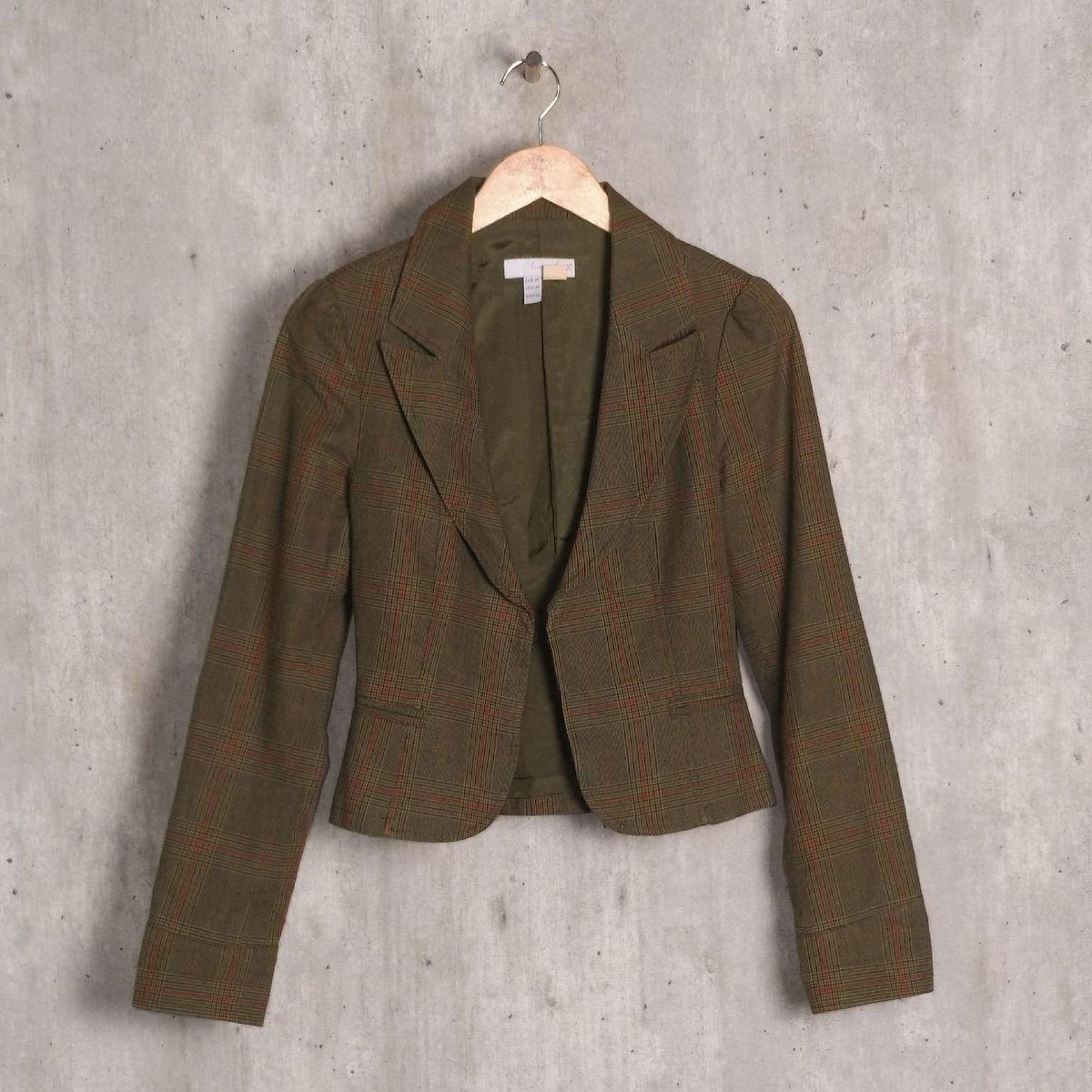 blazer verde xadrez - casaquinhos zara
