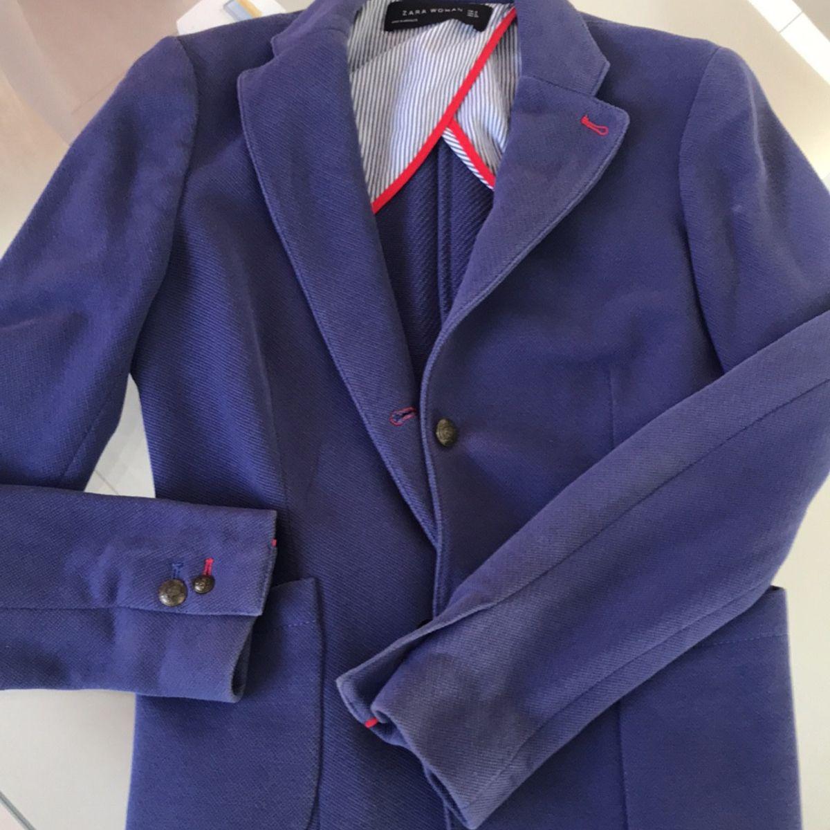 cbac041c77 Blazer Zara Azul Acinturado
