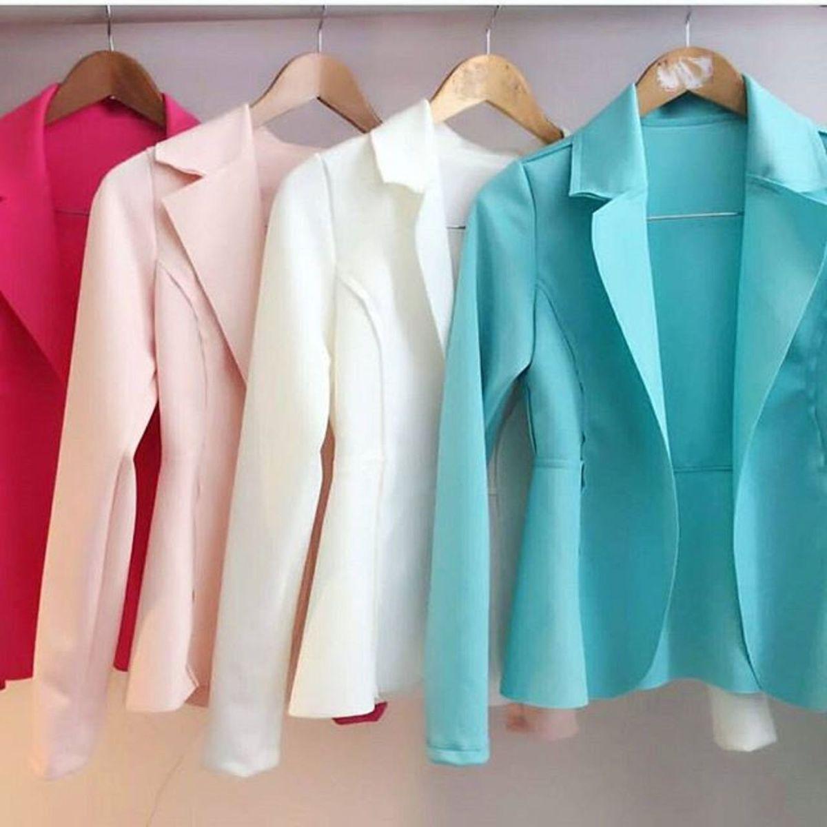 blazer coloridos feminino corte a laser - casaquinhos sem marca