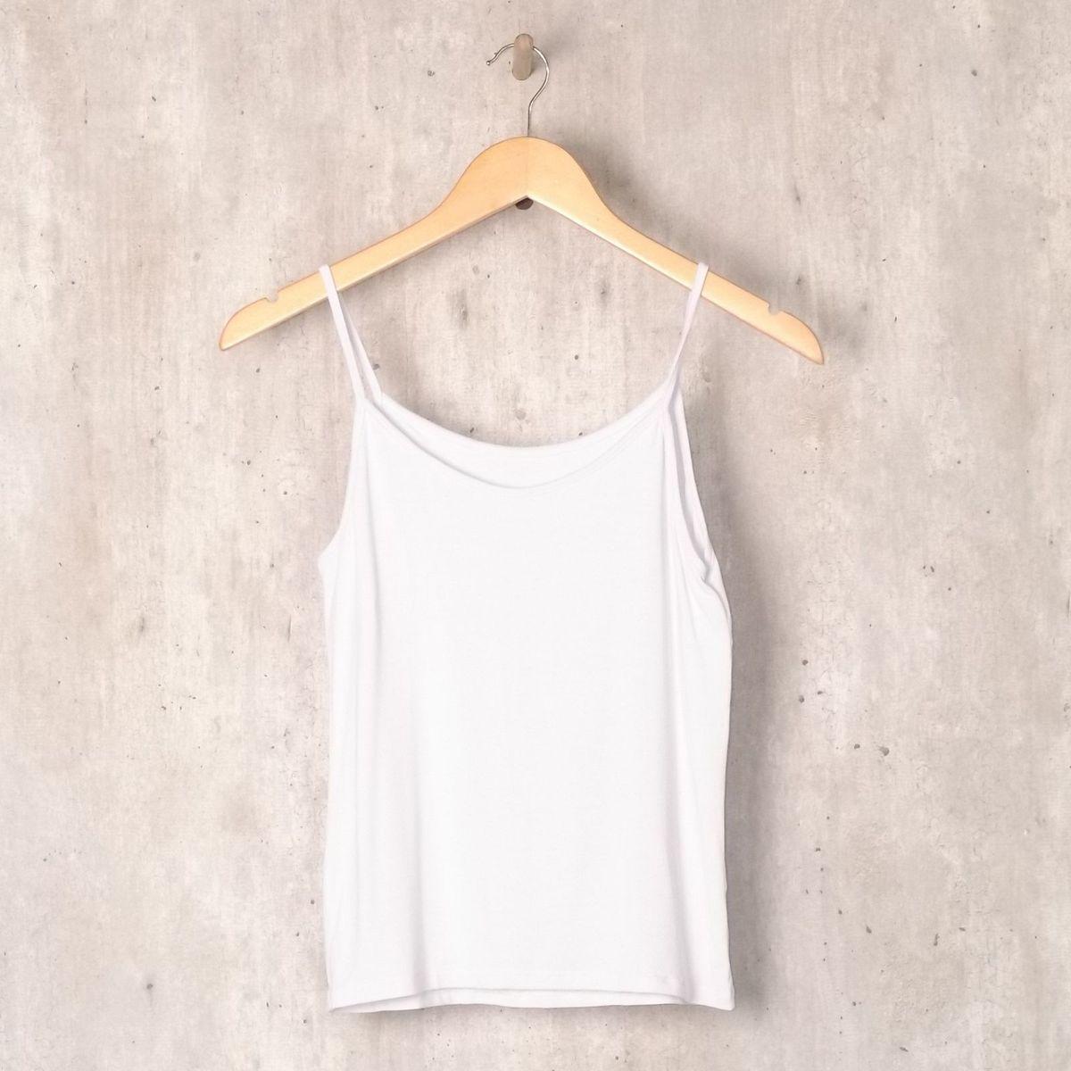 64e688ff56 Blusa Alcinha Branca Básica