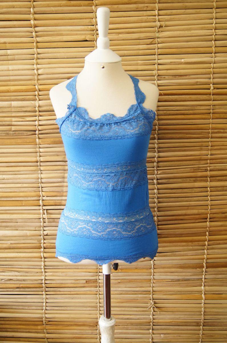 blusa azul com renda - blusas list