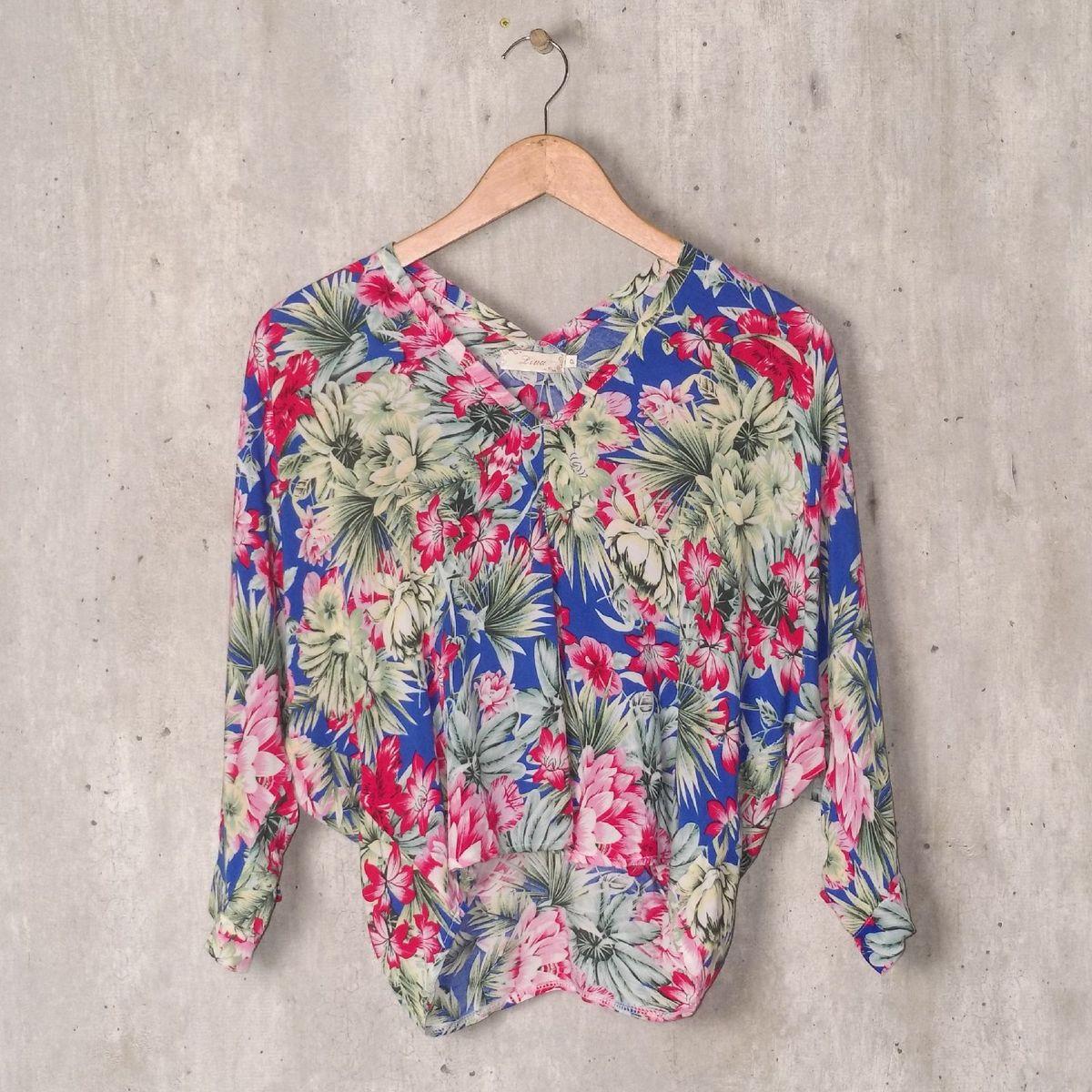 blusa azul floral - blusas lina