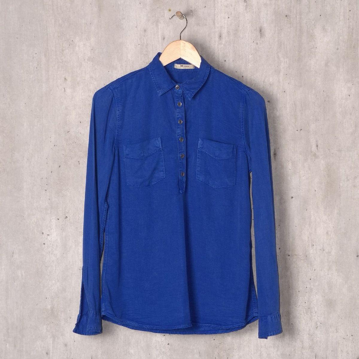 blusa azul royal liocel - blusas hering